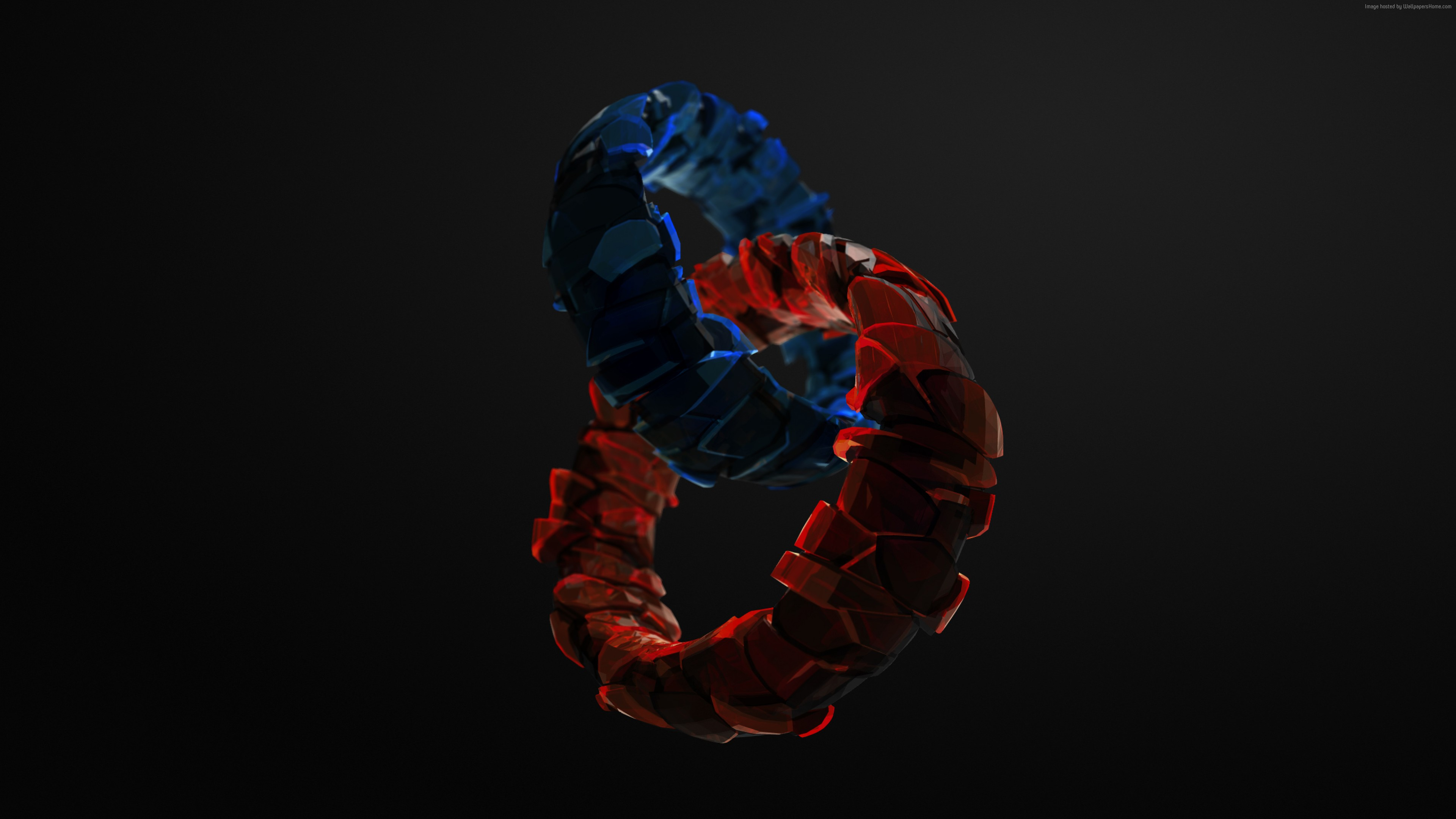 Wallpaper Rings 3d Blue Red Glass Hd Abstract Wallpaper Download High Resolution 4k Wallpaper
