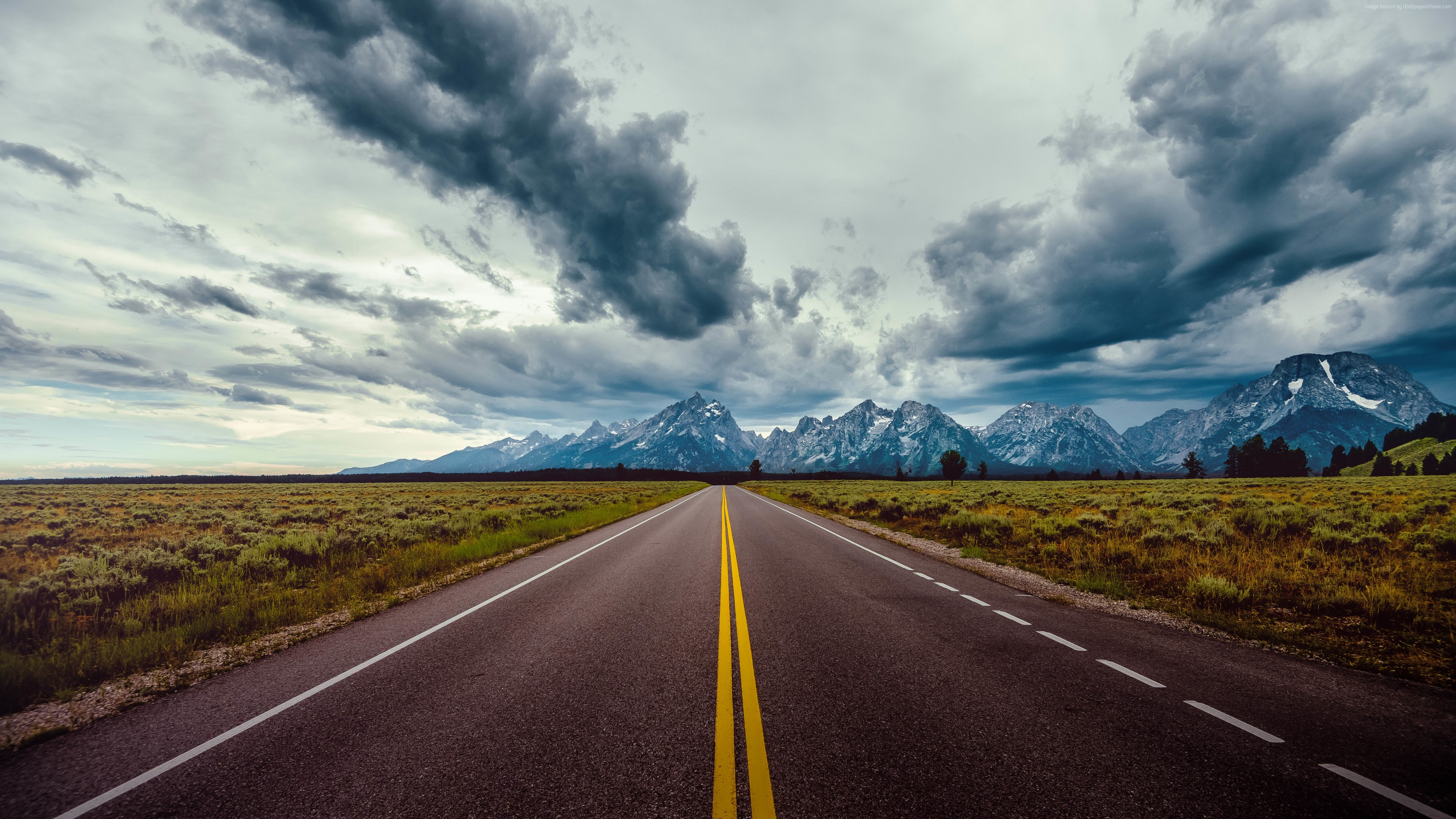 Wallpaper road, sky, clouds, mountains, 8k, Nature
