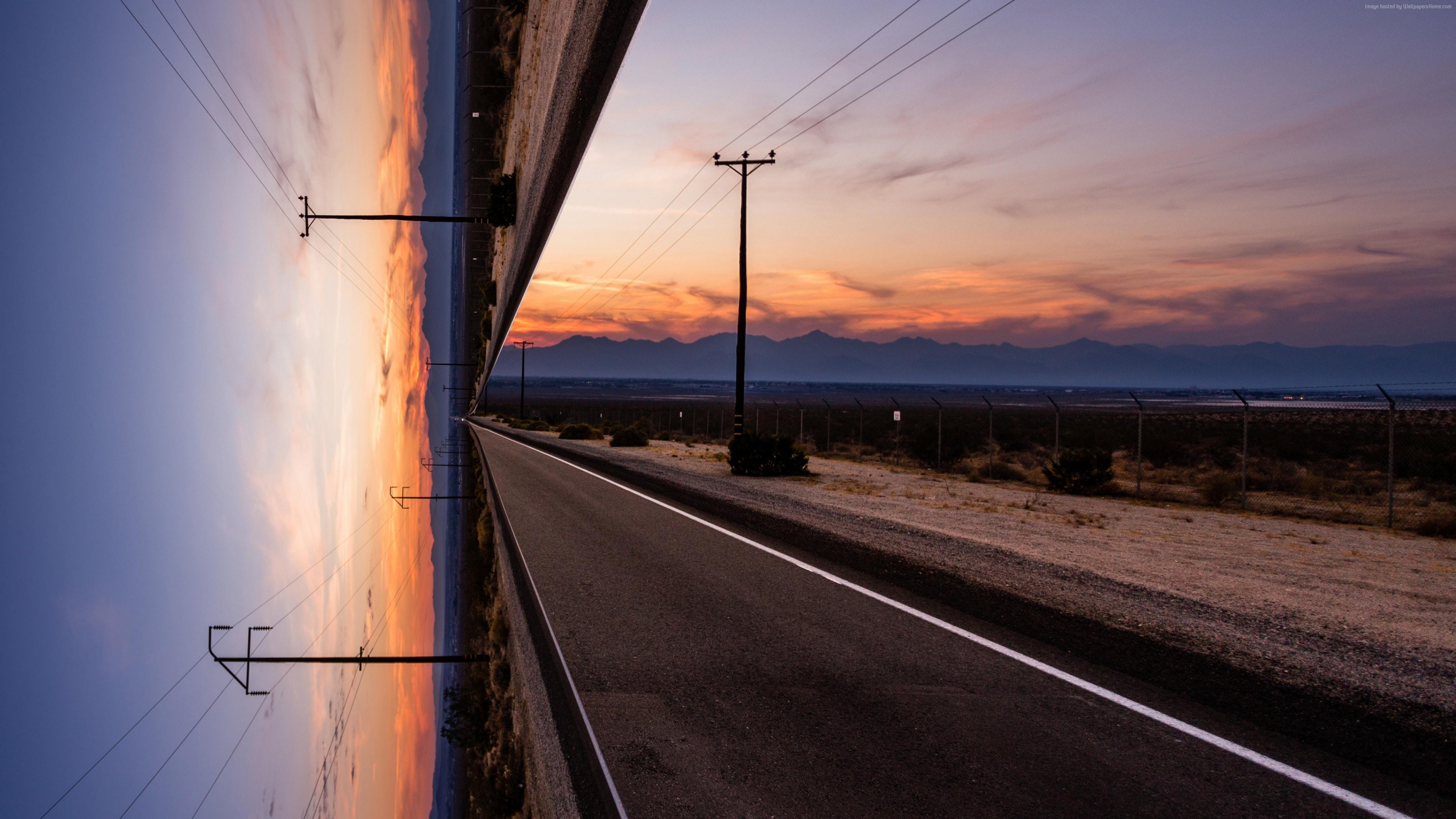 Wallpaper Road Sky Sunset Artwork 4k Nature Download