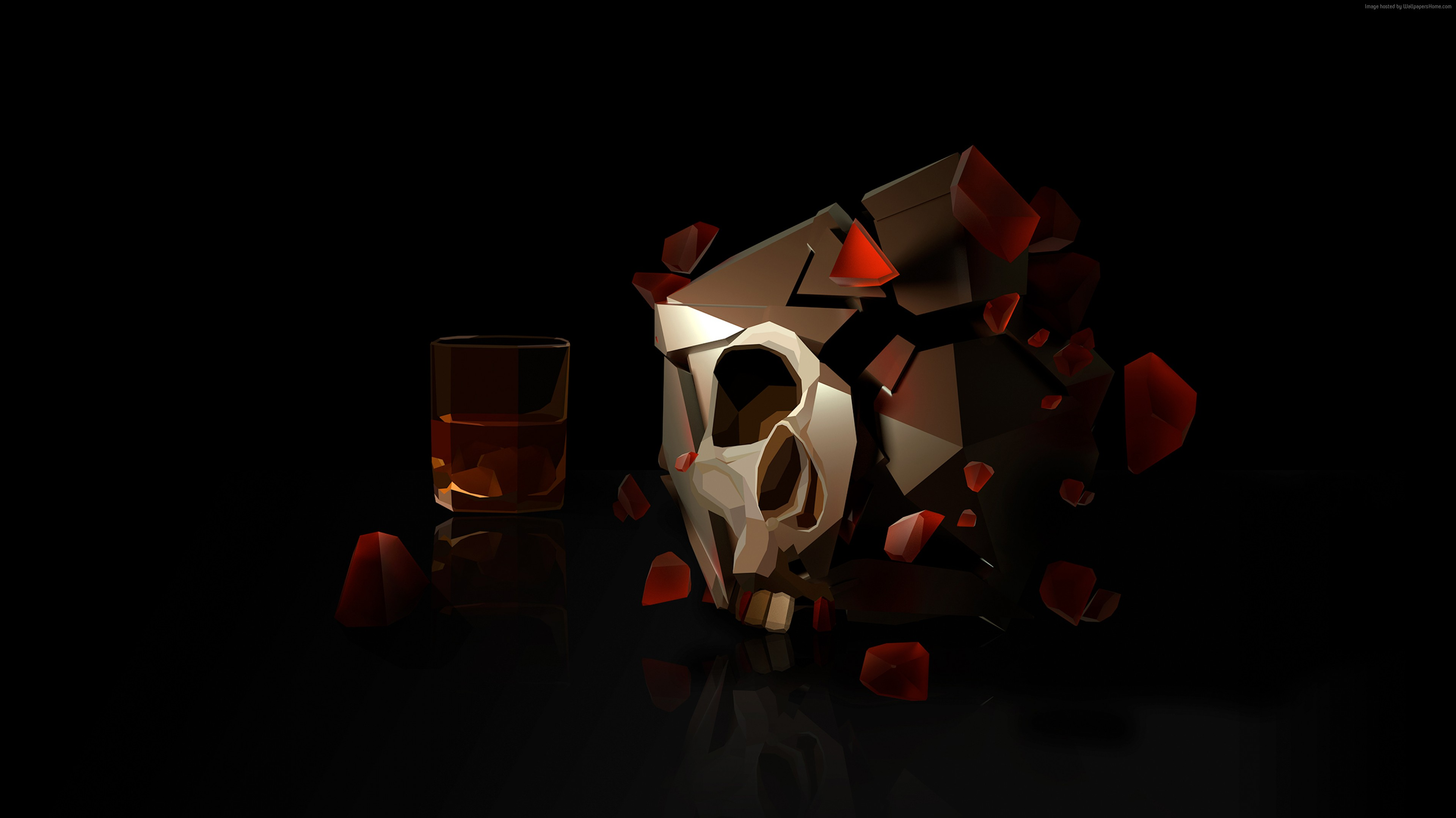 wallpaper skull, 3d, glass, hd, abstract 3d, glass, hd, skull