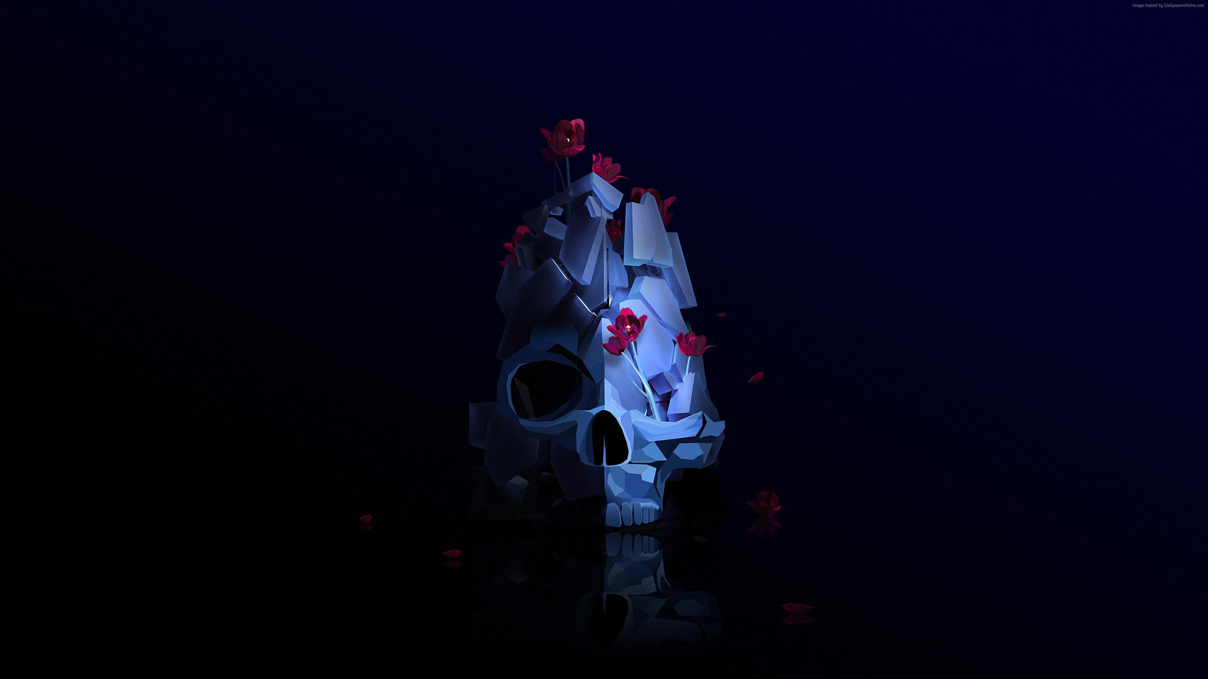 wallpaper skull, flower, 3d, hd, abstract 3d, flower, hd, skull