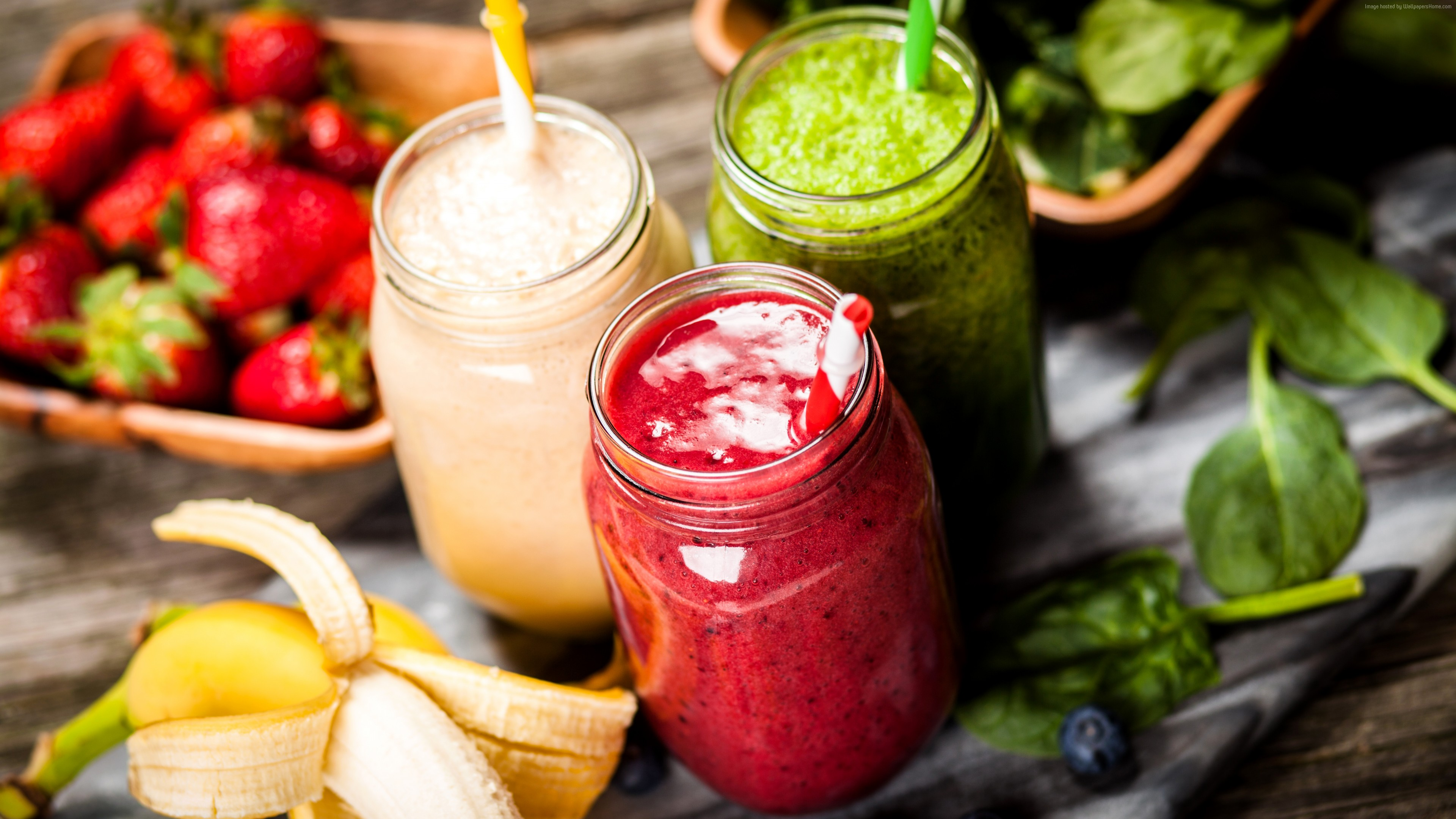 Wallpaper smoothies, strawberry, banana, mint, delicious, 5k, Food