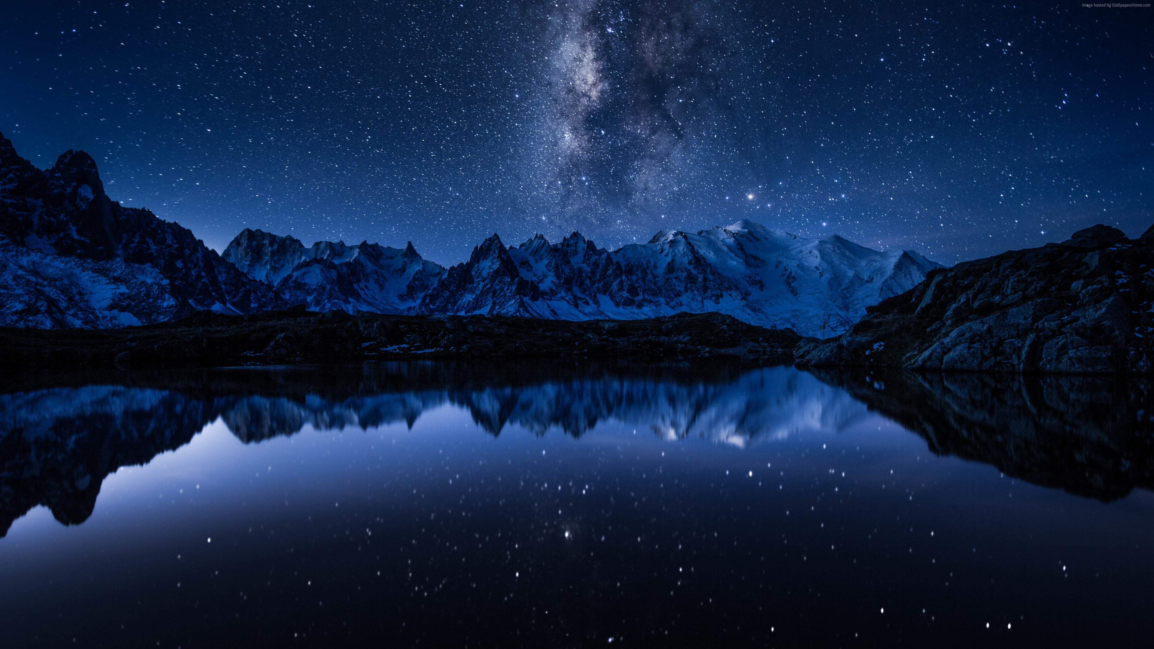 Wallpaper stars, mountains, lake, 5k, Space