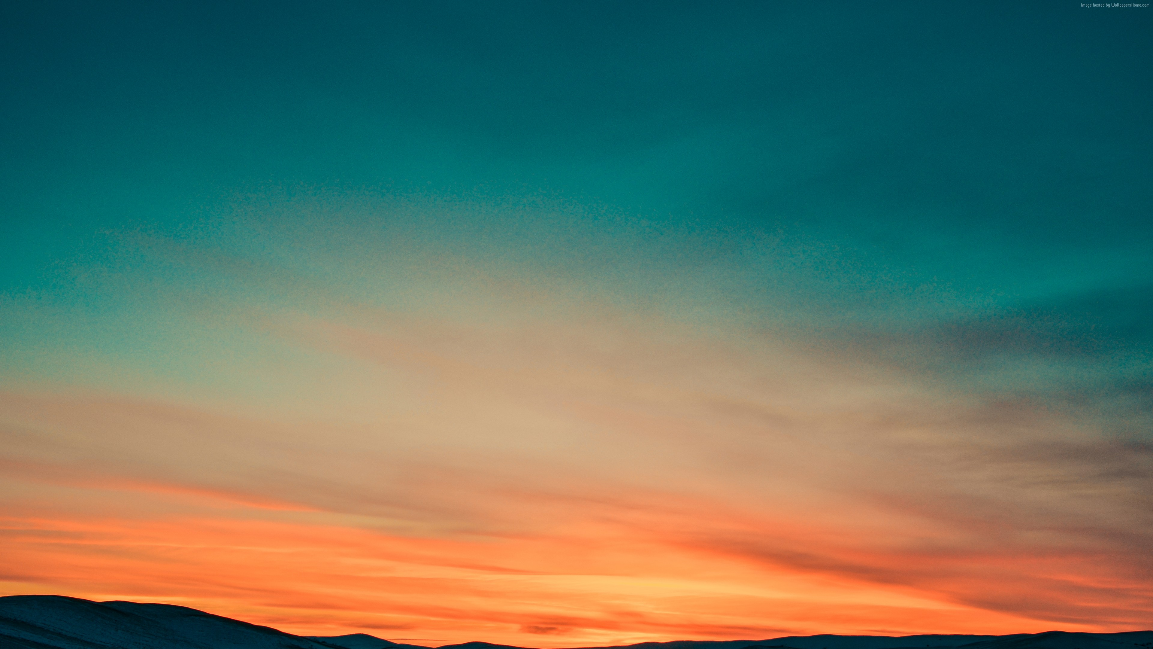 Wallpaper sunset, sky, mountains, 4k, Nature