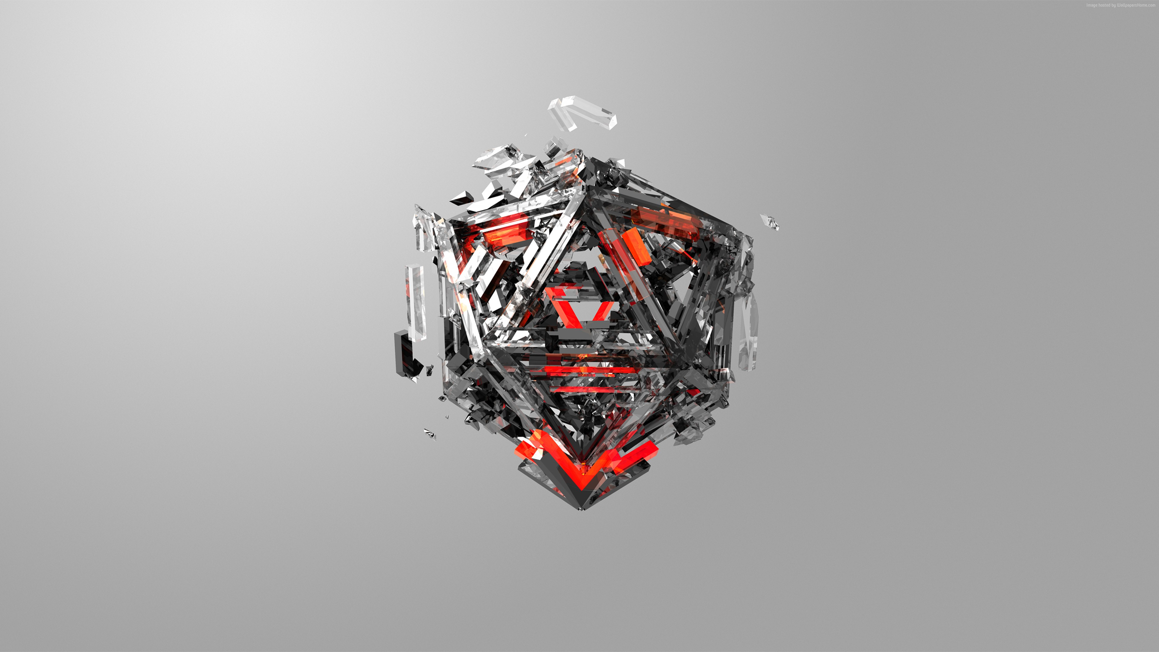 Wallpaper triangles, 3D, red, gray, HD, Abstract