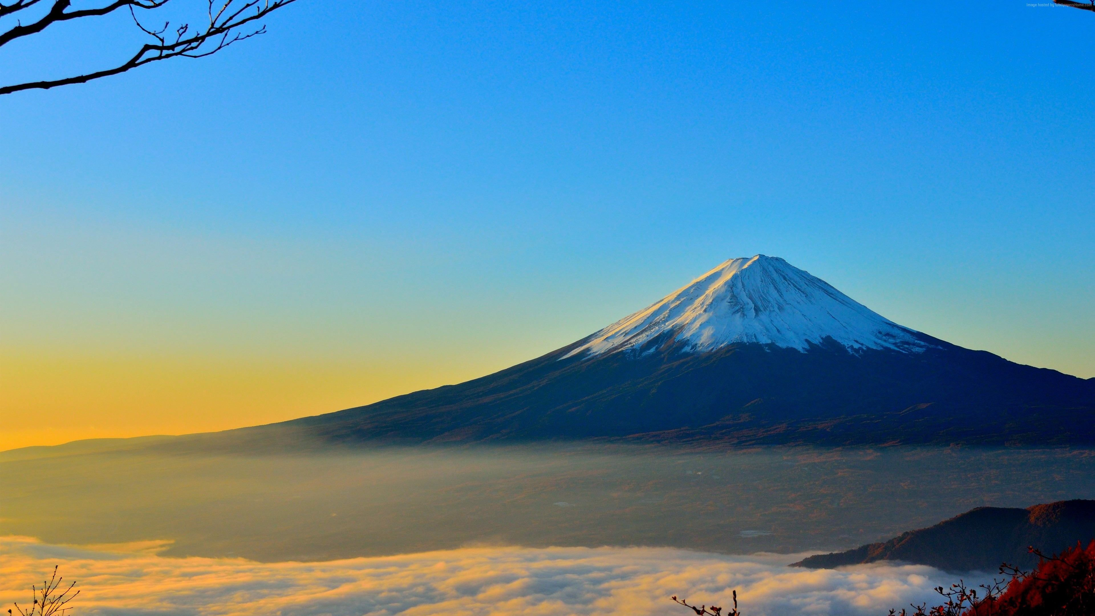 Wallpaper volcano, Fuji, Japan, mountains, fog, 4k, Travel