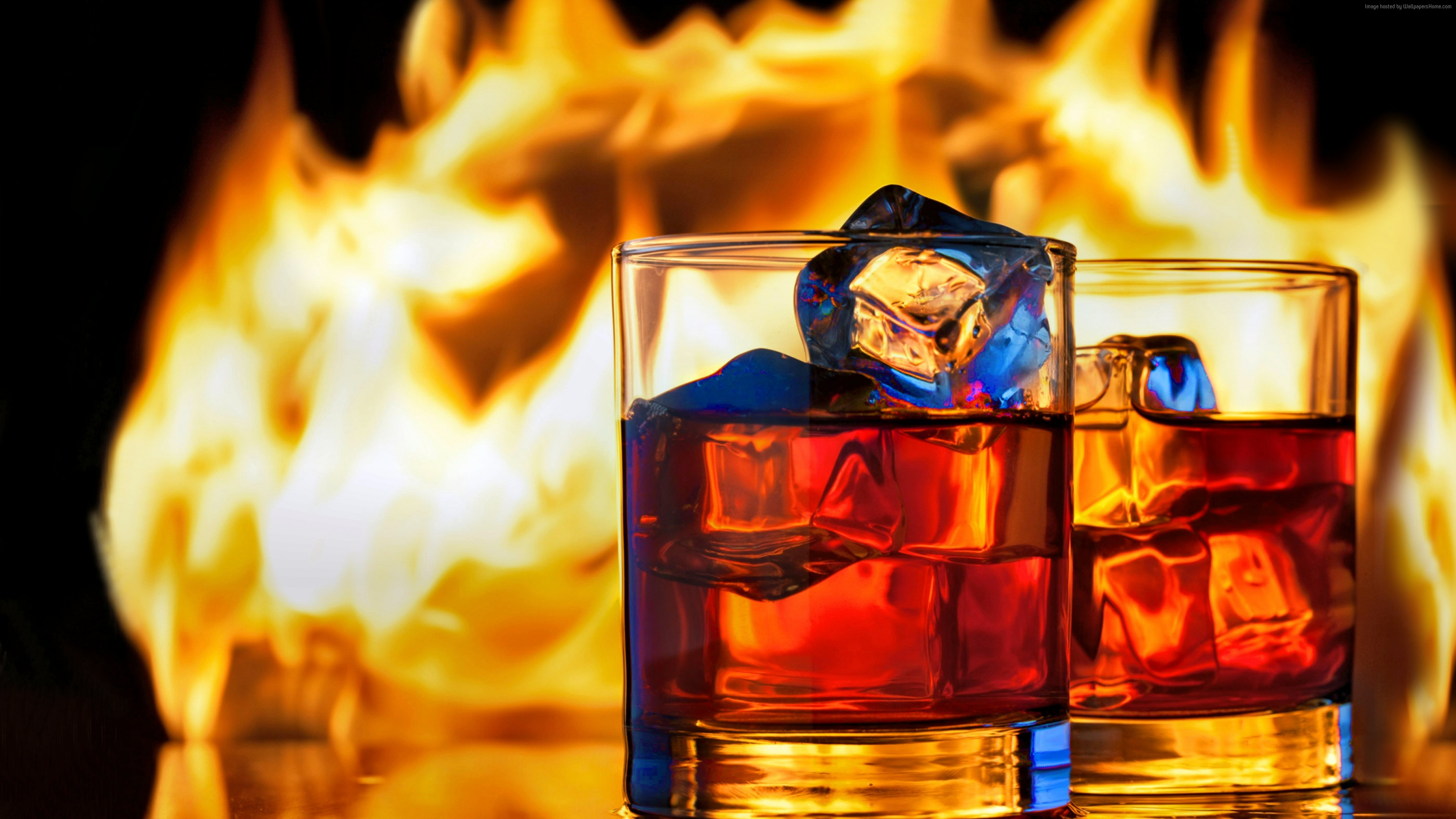 Wallpaper whiskey, fire, ice, 5k, Food