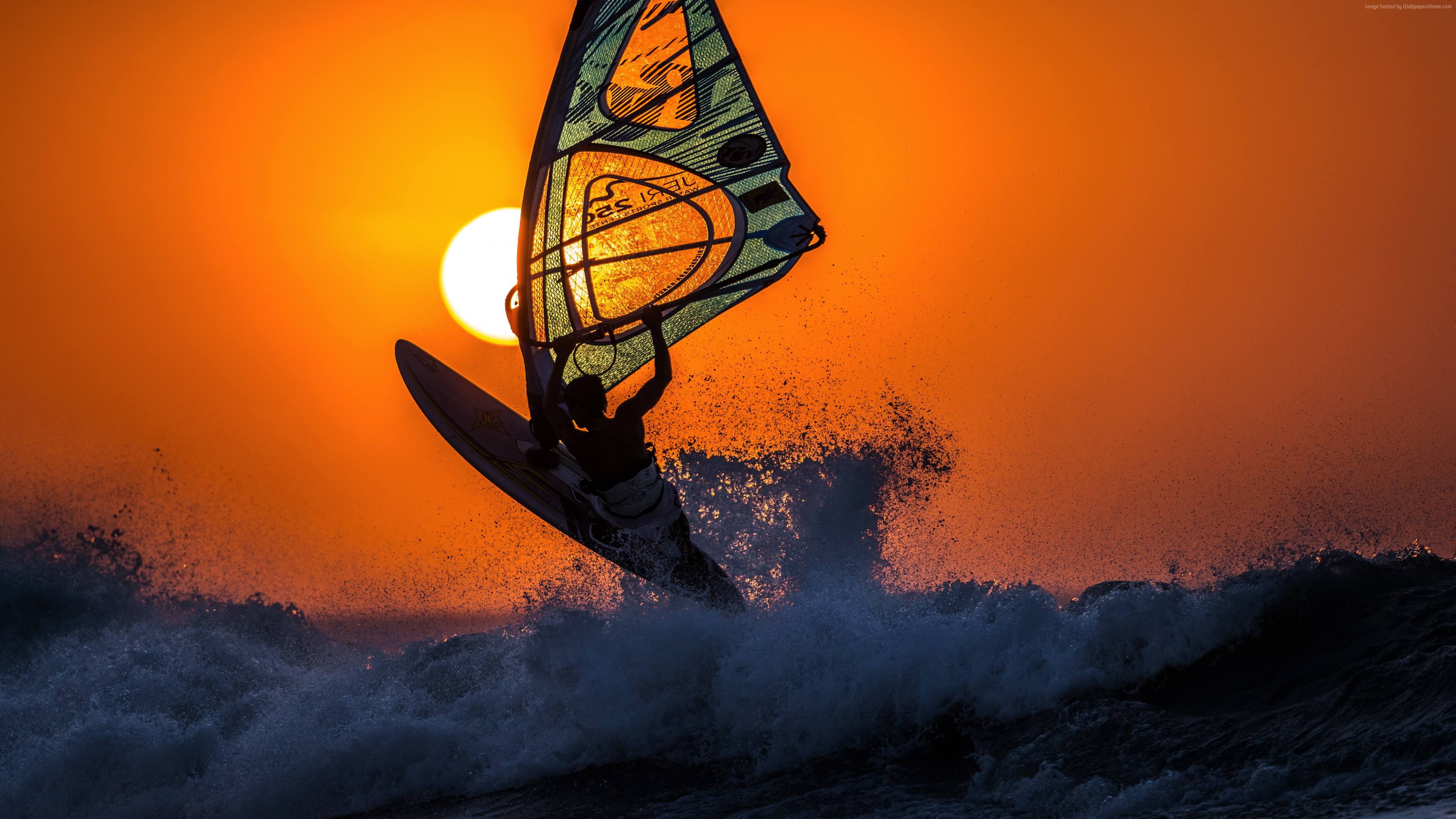 Wallpaper windsurfing, sunset, sky, sea, waves, Sport