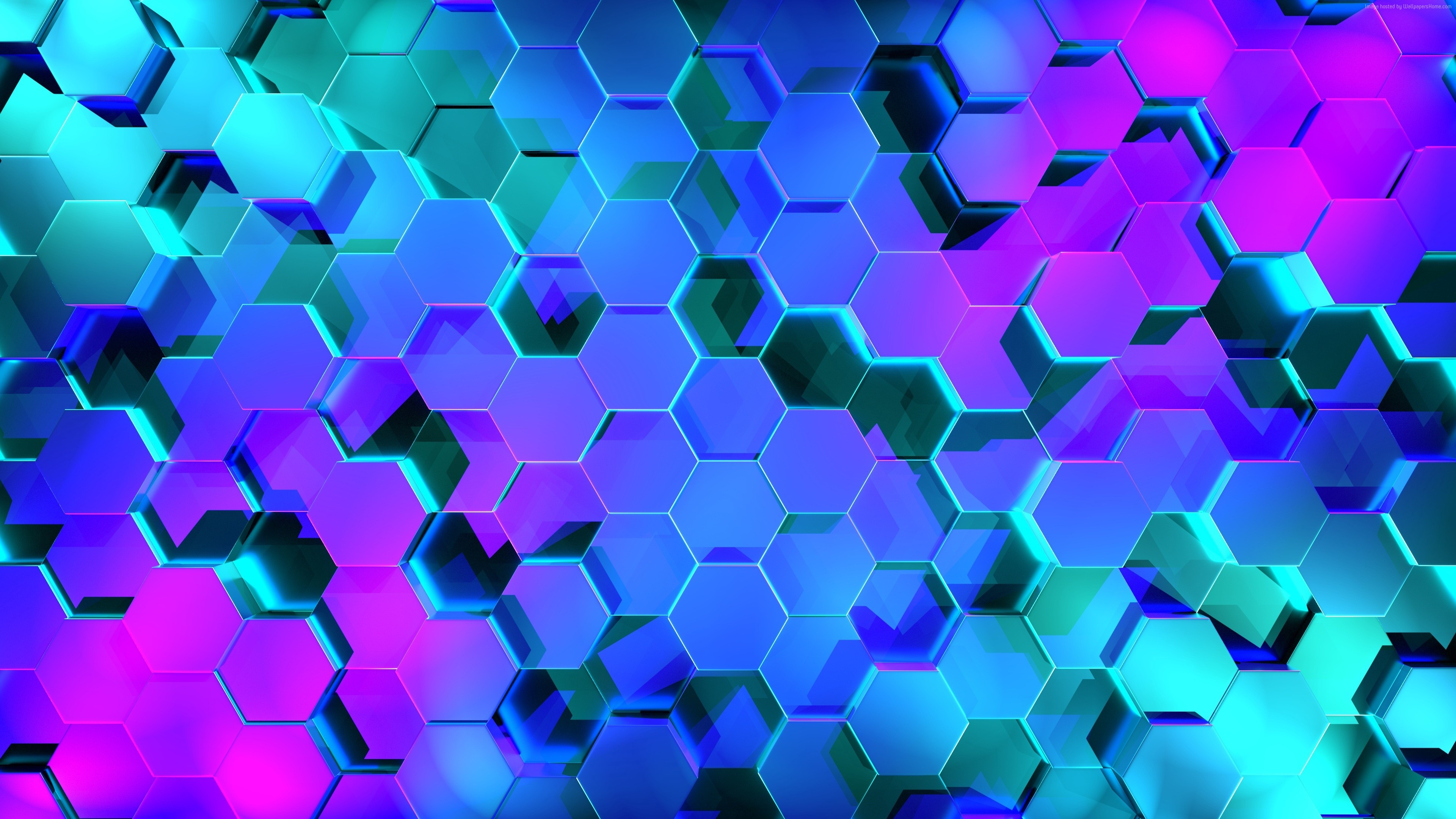 Wallpaper Geometry, Hexagon, Colors, 3D, 4K, Abstract