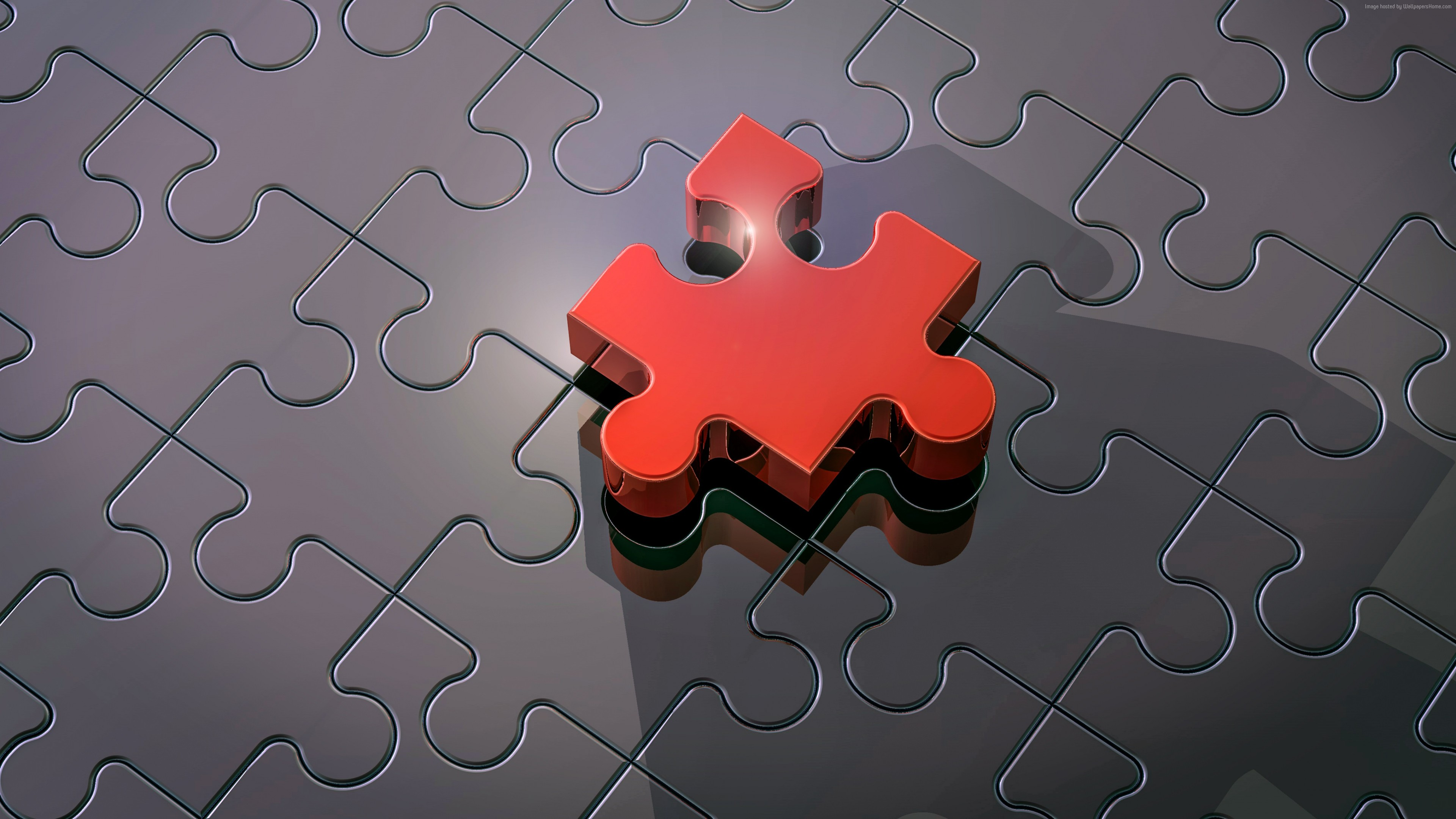 Wallpaper Puzzle, 3D, red, 4K, Abstract