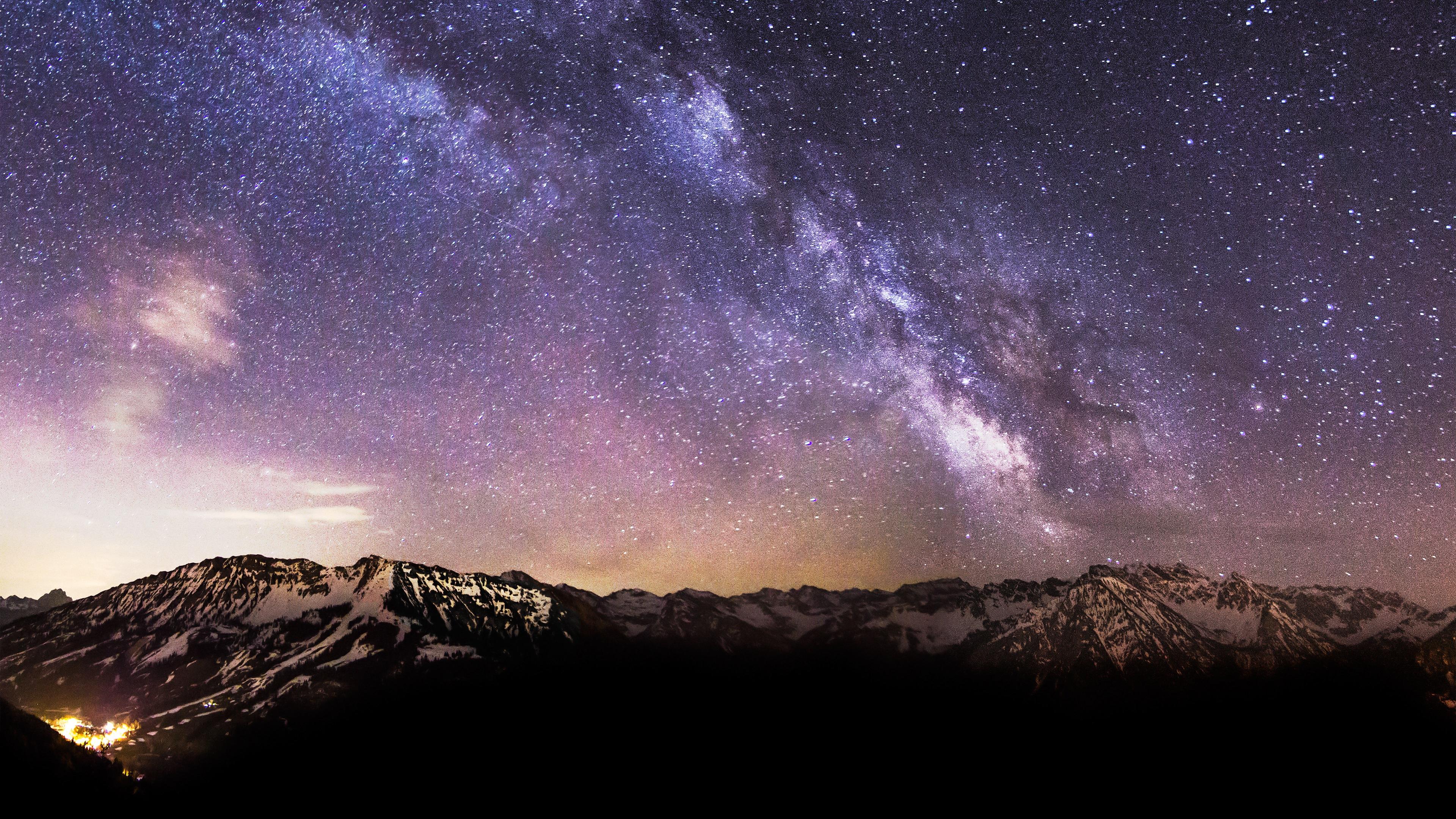 Milky Way Stars Snow Mountains 4K Ultra HD Desktop