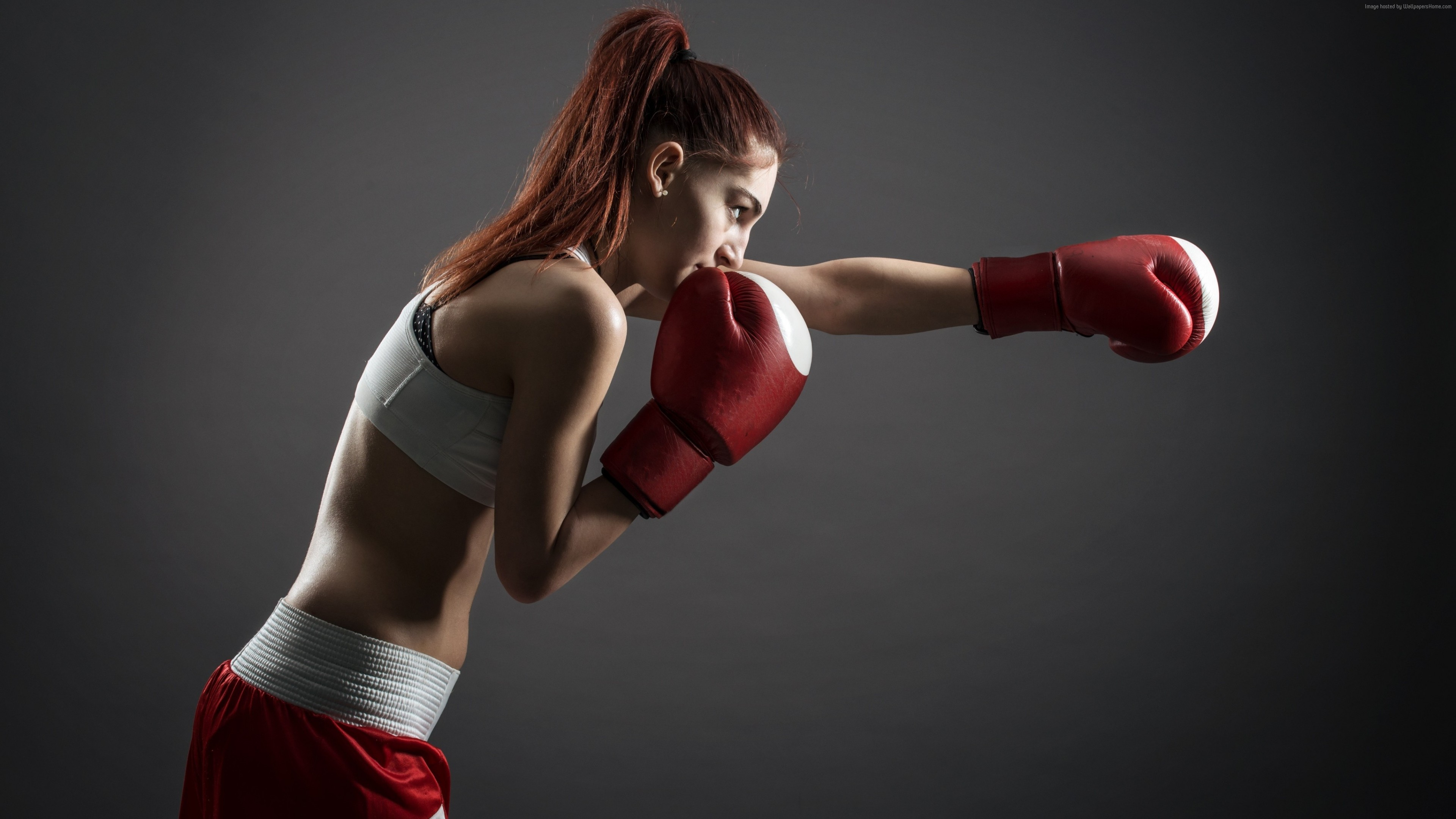 Wallpaper Boxing gloves, girl, boxing, 4K, Sport