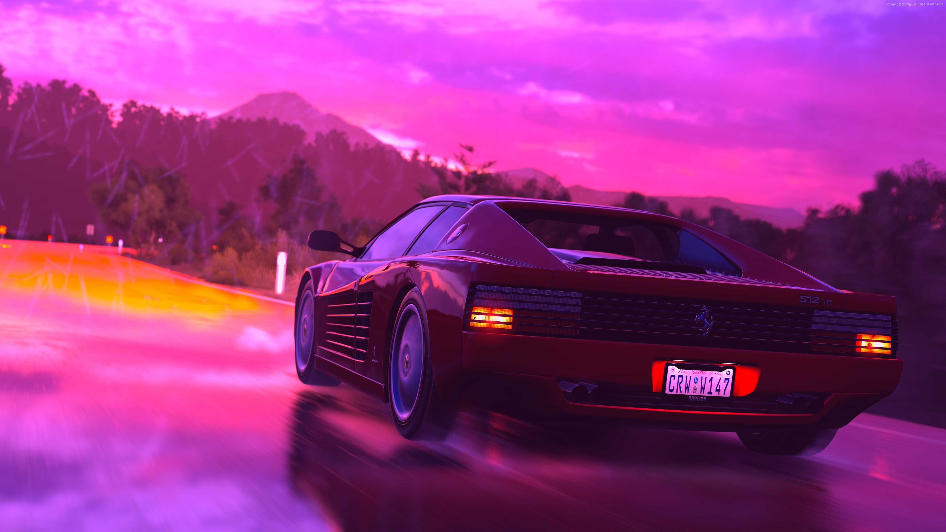 Wallpaper Ferrari Testarossa, retrowave, pink, 4K, Art