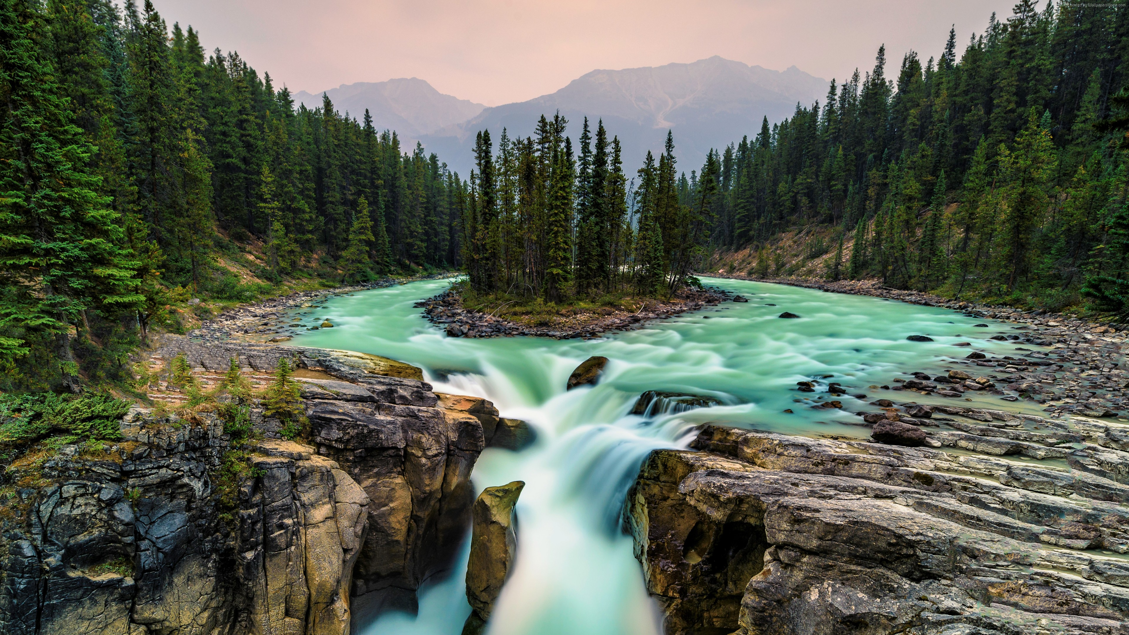 Wallpaper Jasper National Park, Canada, waterfall, 5K, Travel