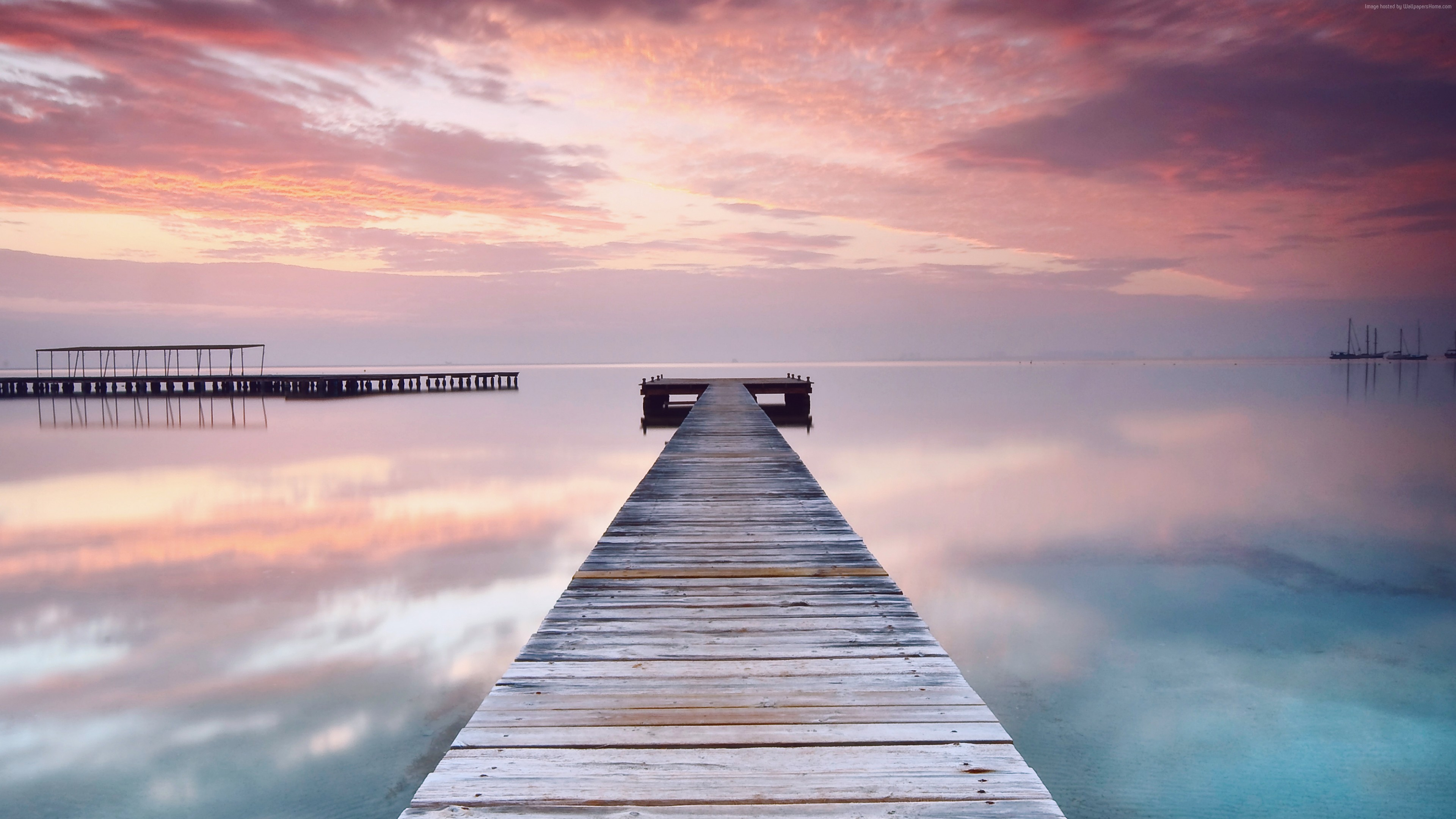 Wallpaper Spain, 5k, 4k wallpaper, pink, sky, clouds, ocean, bridge, reflection, Nature