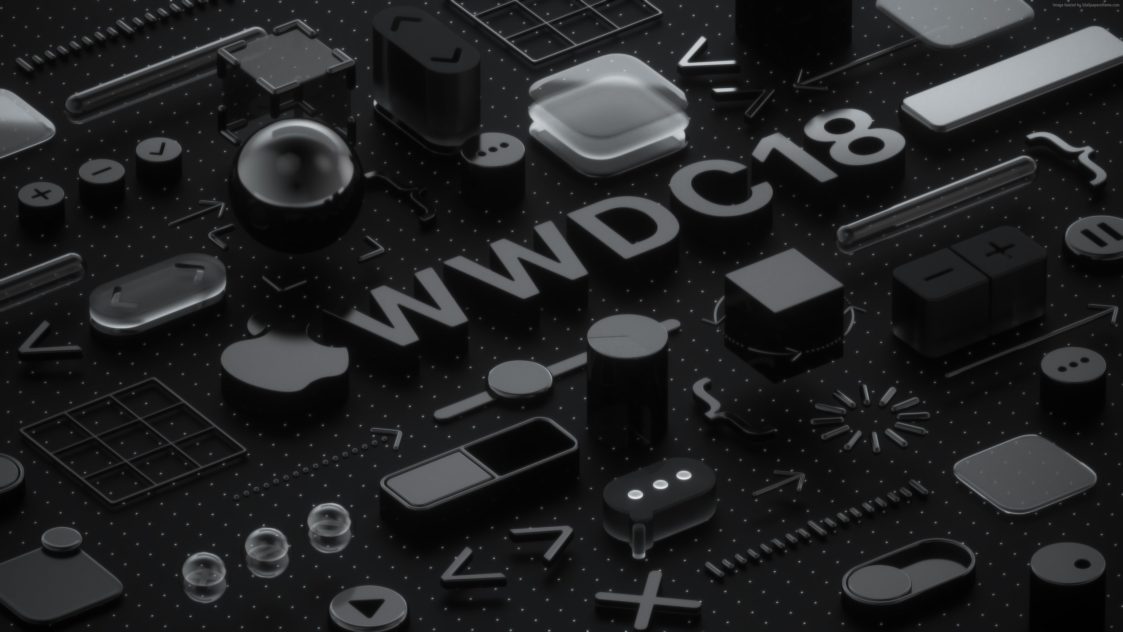 Wallpaper WWDC 2018, Black, 3D, 4K, OS