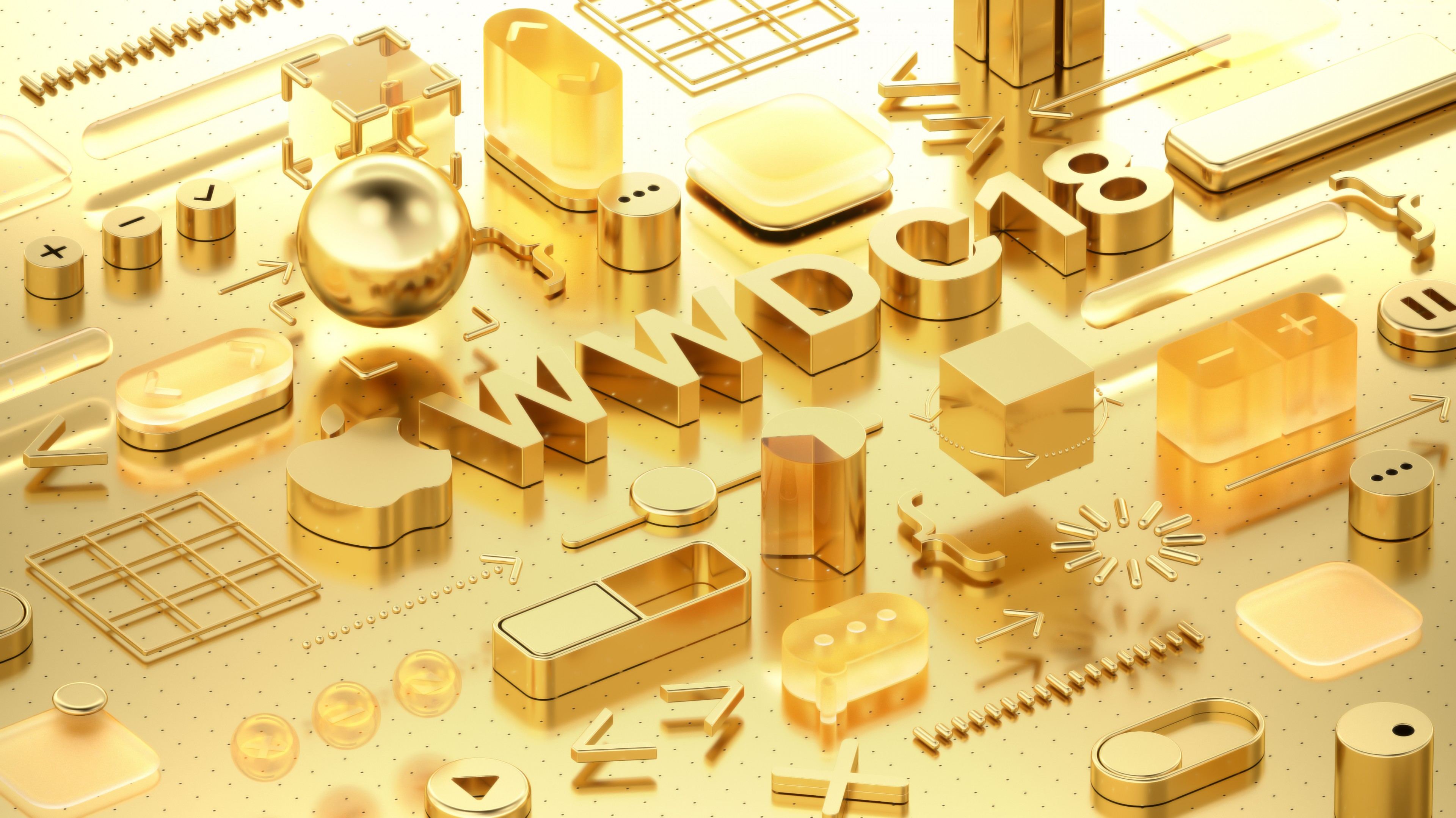 Wallpaper WWDC 2018, Gold, 3D, 4K, OS