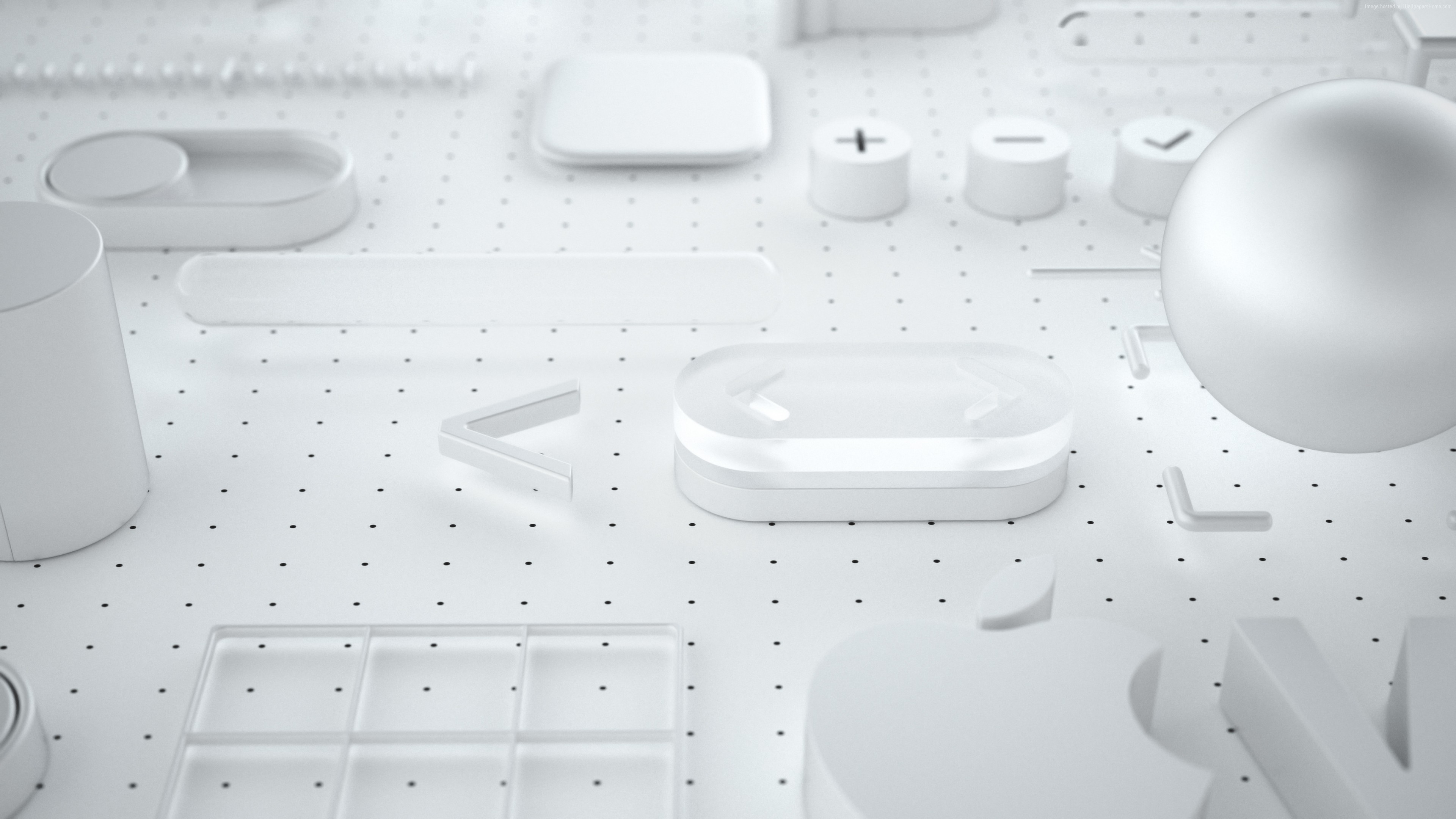 Wallpaper WWDC 2018, White, 3D, 4K, OS