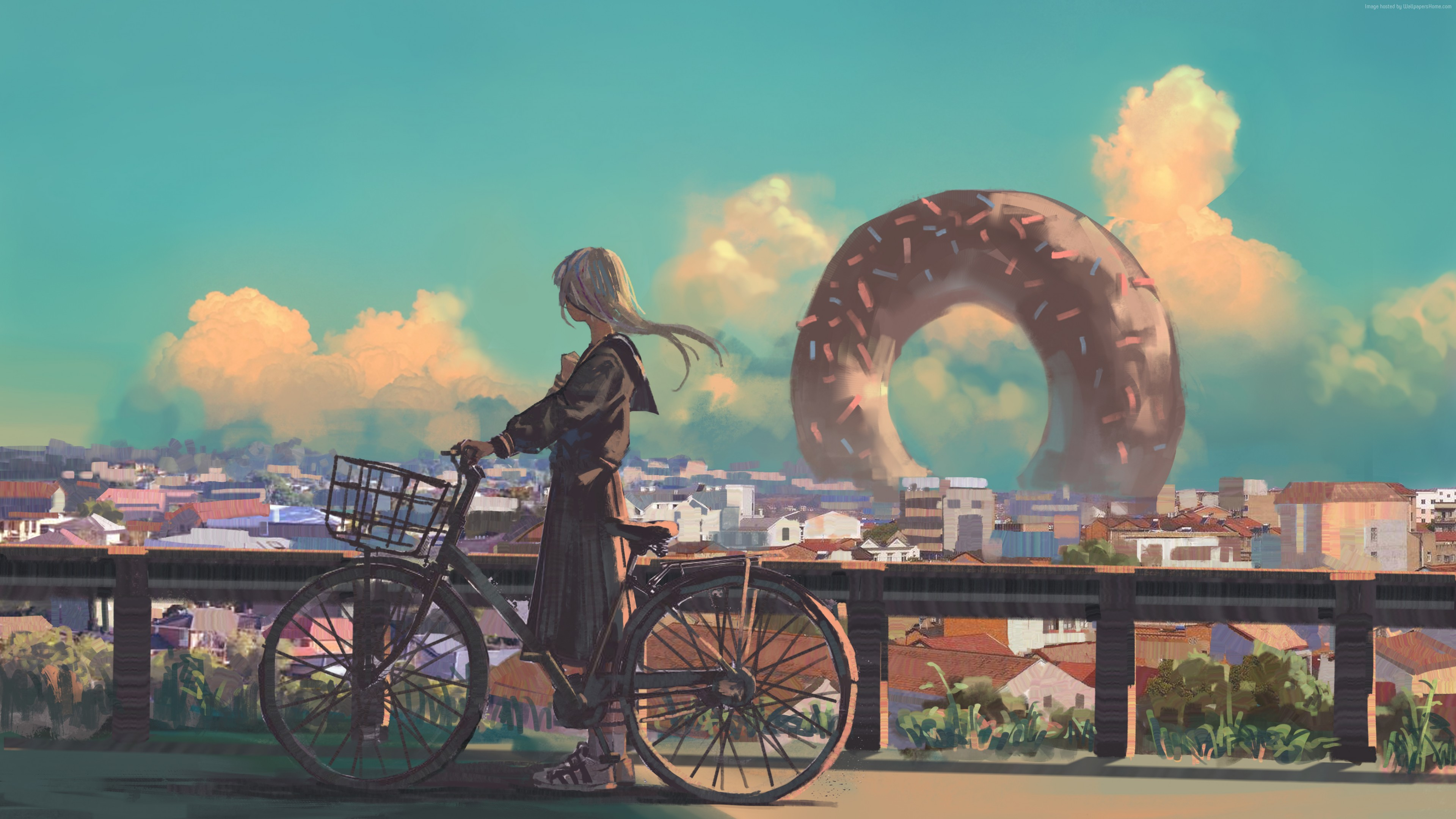 Wallpaper girl, bicycle, city, 4K, Art
