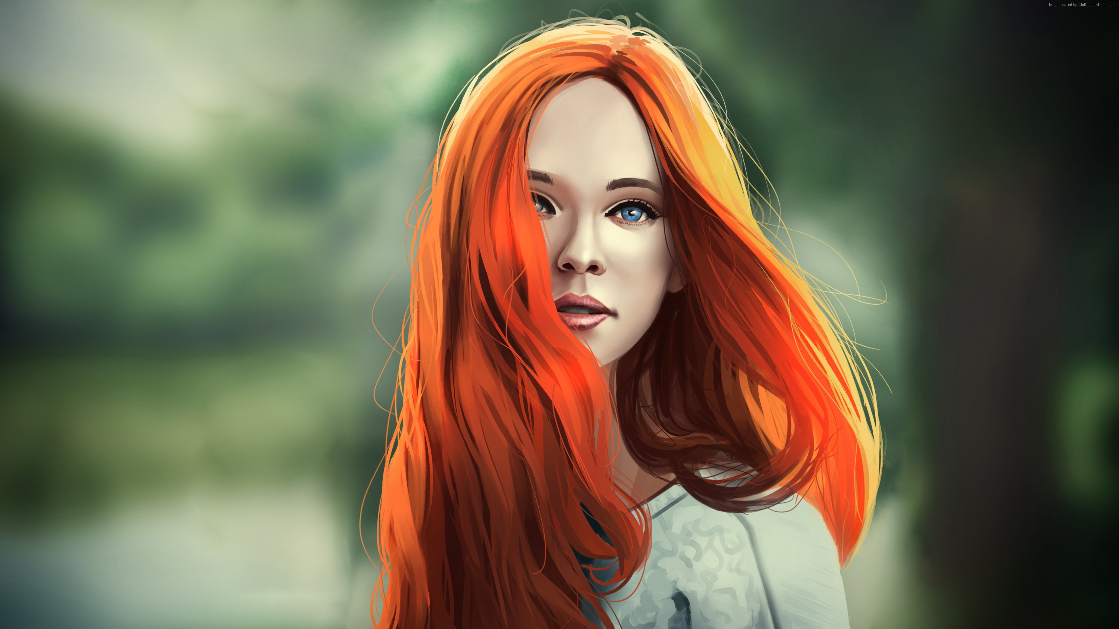 Wallpaper girl, red, hair, 4K, Girls