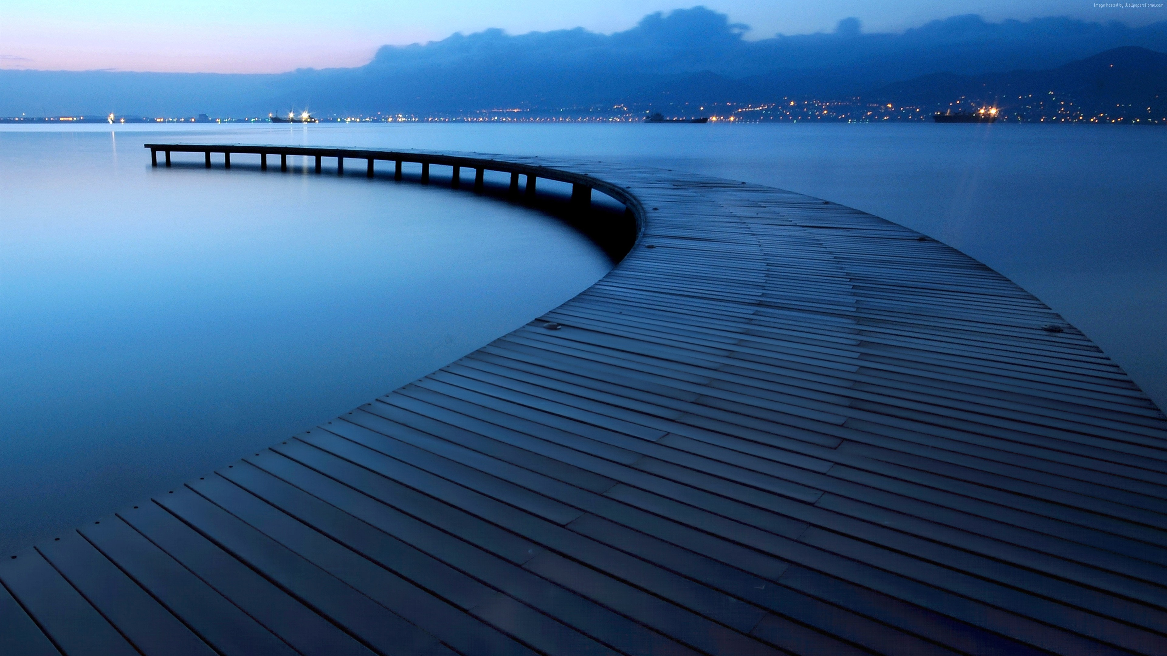 Wallpaper lake, 4k, 5k wallpaper, evening, pier, Nature