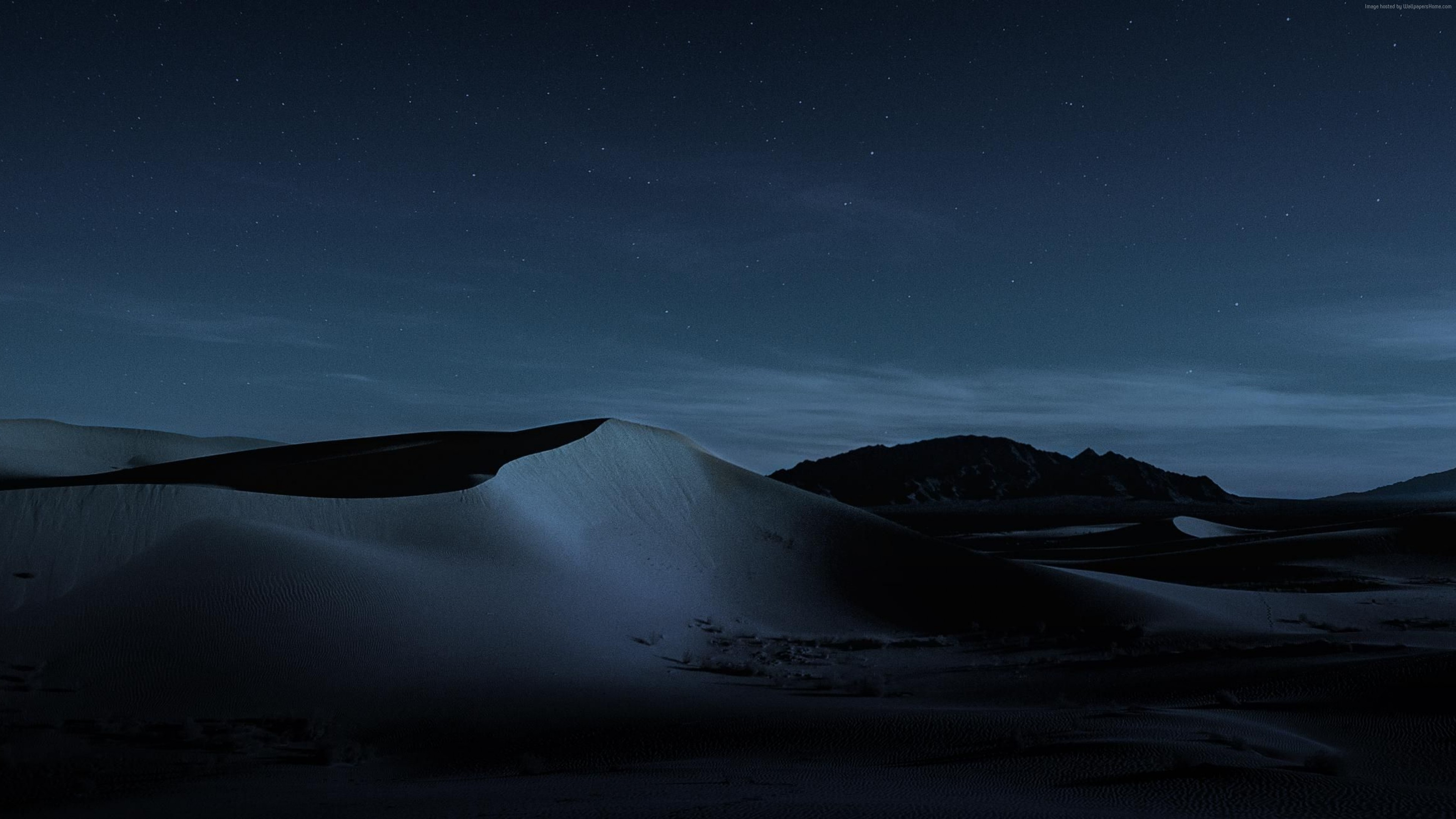 Wallpaper macOS Mojave, Night, Dunes, 4K, OS