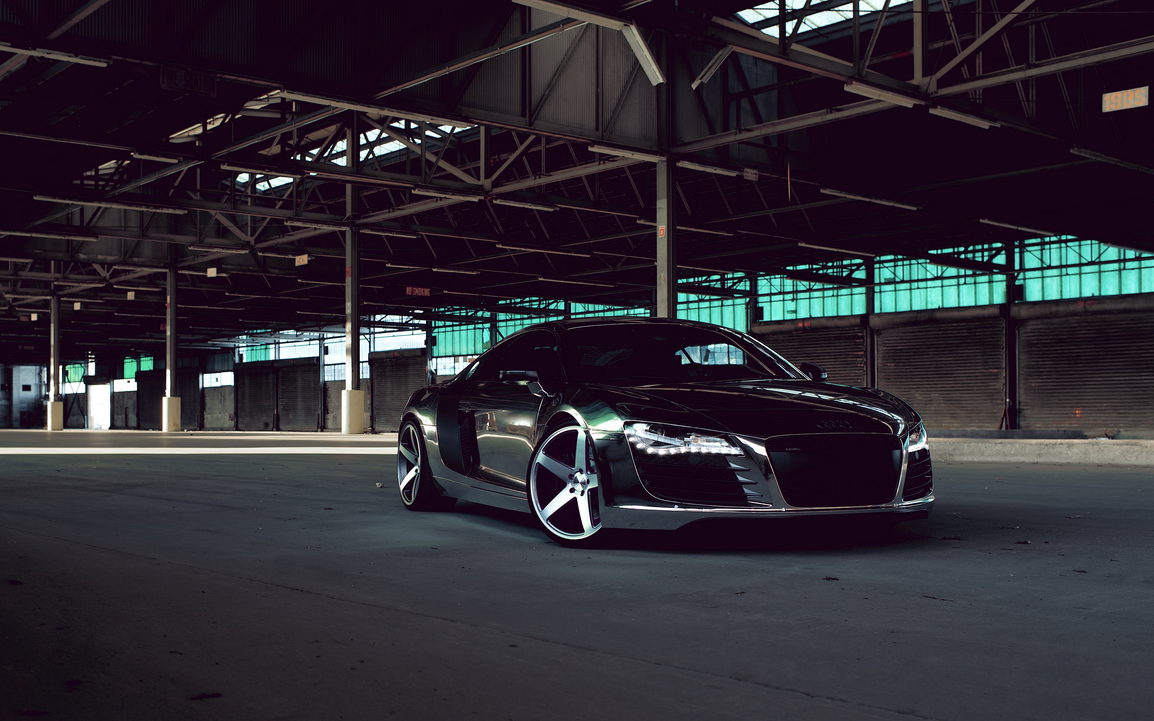 audi r8 chrome cw 5 matte black black side 3840×2400