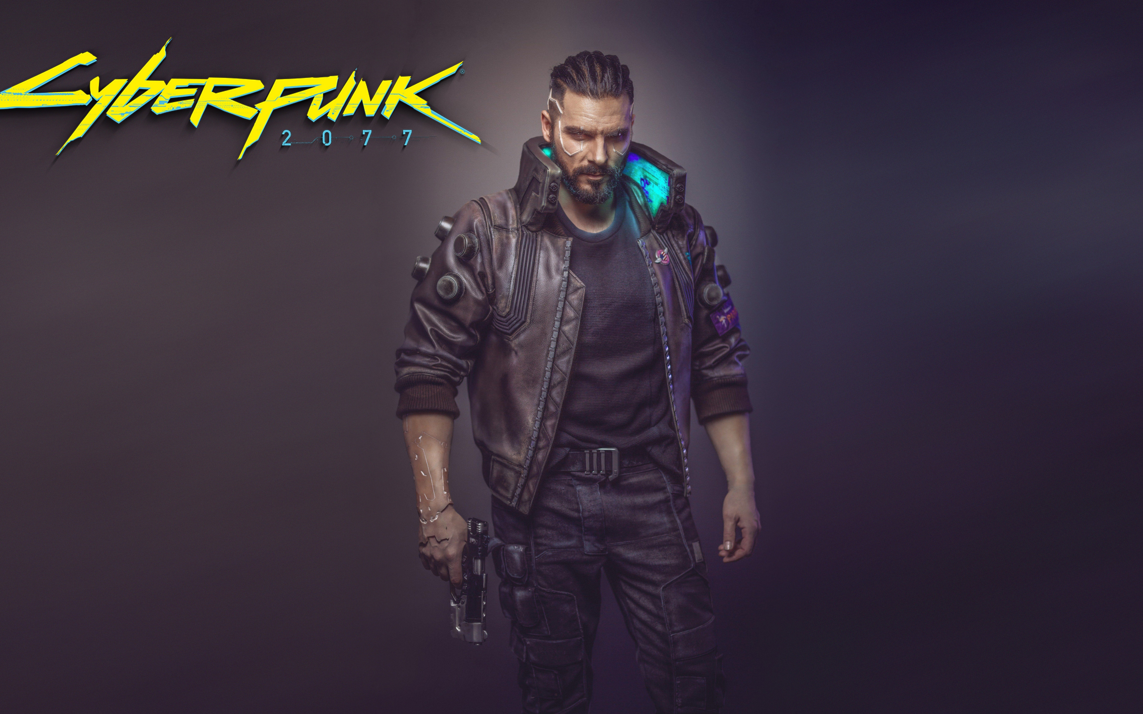 cyberpunk 2077 man with gun 2018