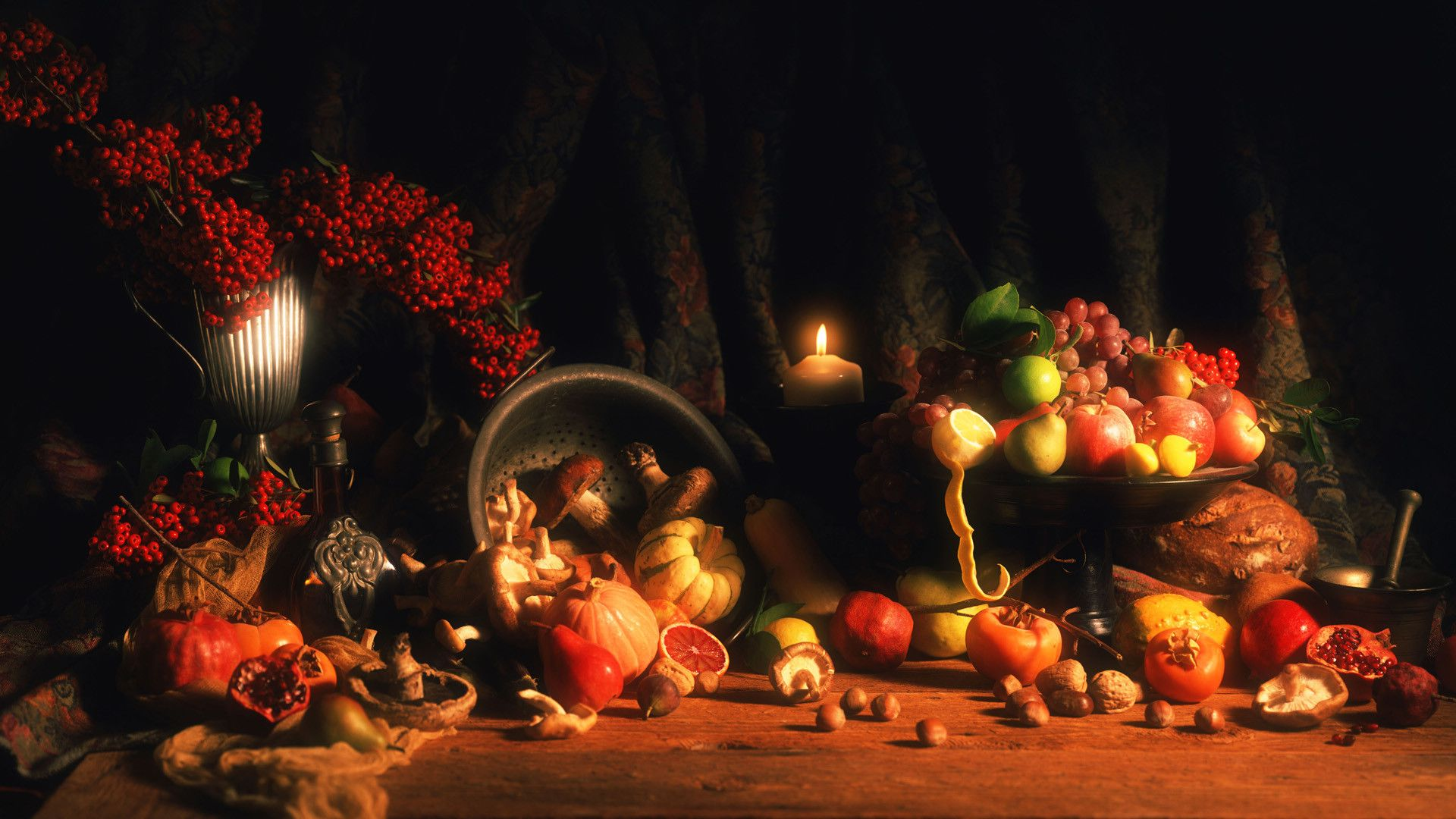 Holiday pumpkin and fruit thanksgiving wallpapers and backgrounds