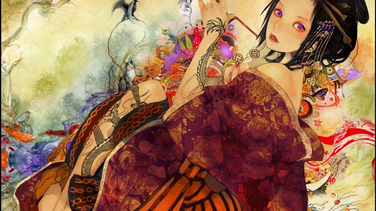 Japanese Geisha Girls Art Free Wallpaper