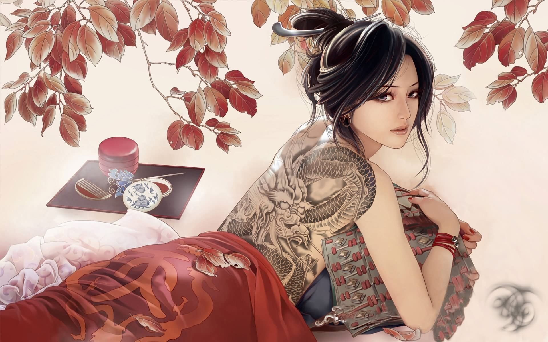 Japanese Geisha Girls Art HD Background