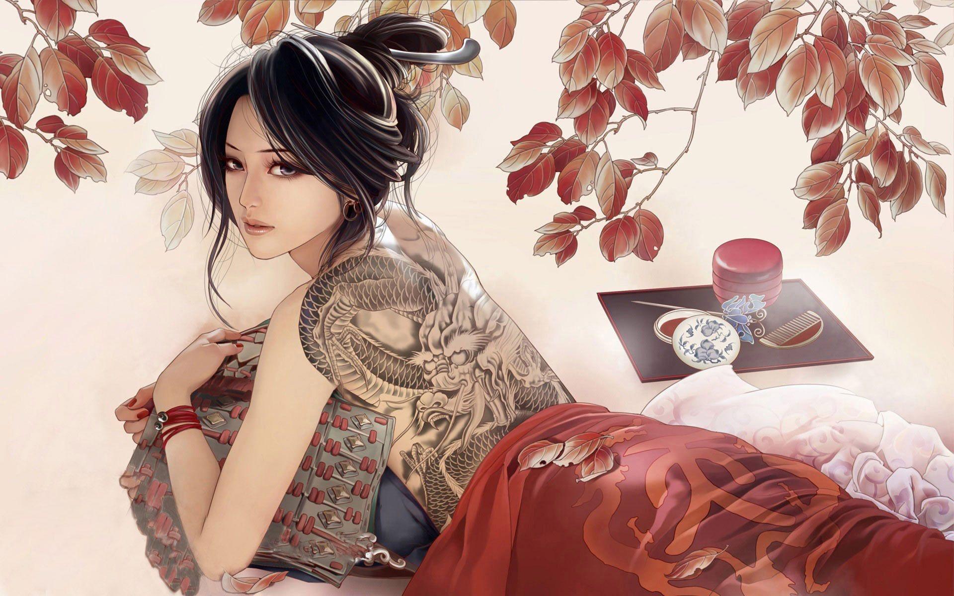 Japanese Geisha Girls Art Wallpapers