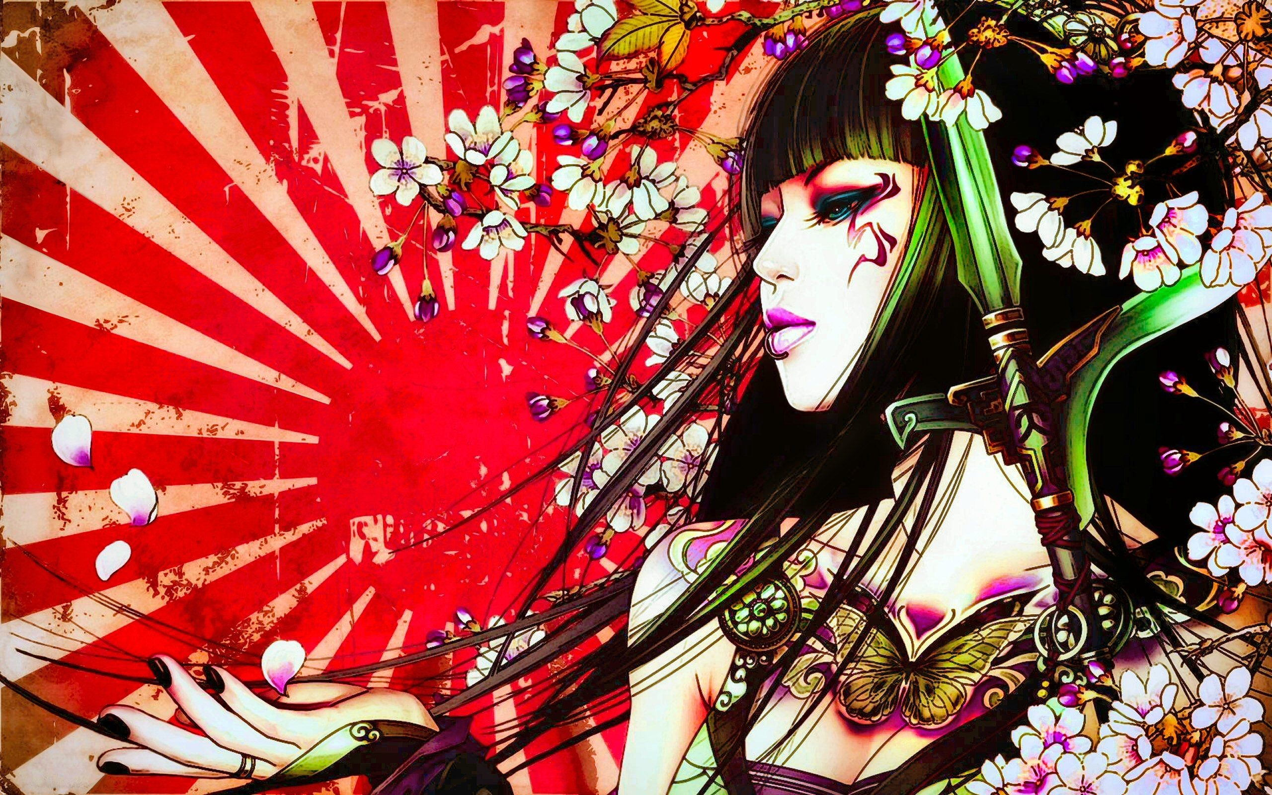 Japanese Geisha Girls Art iphone Wallpaper