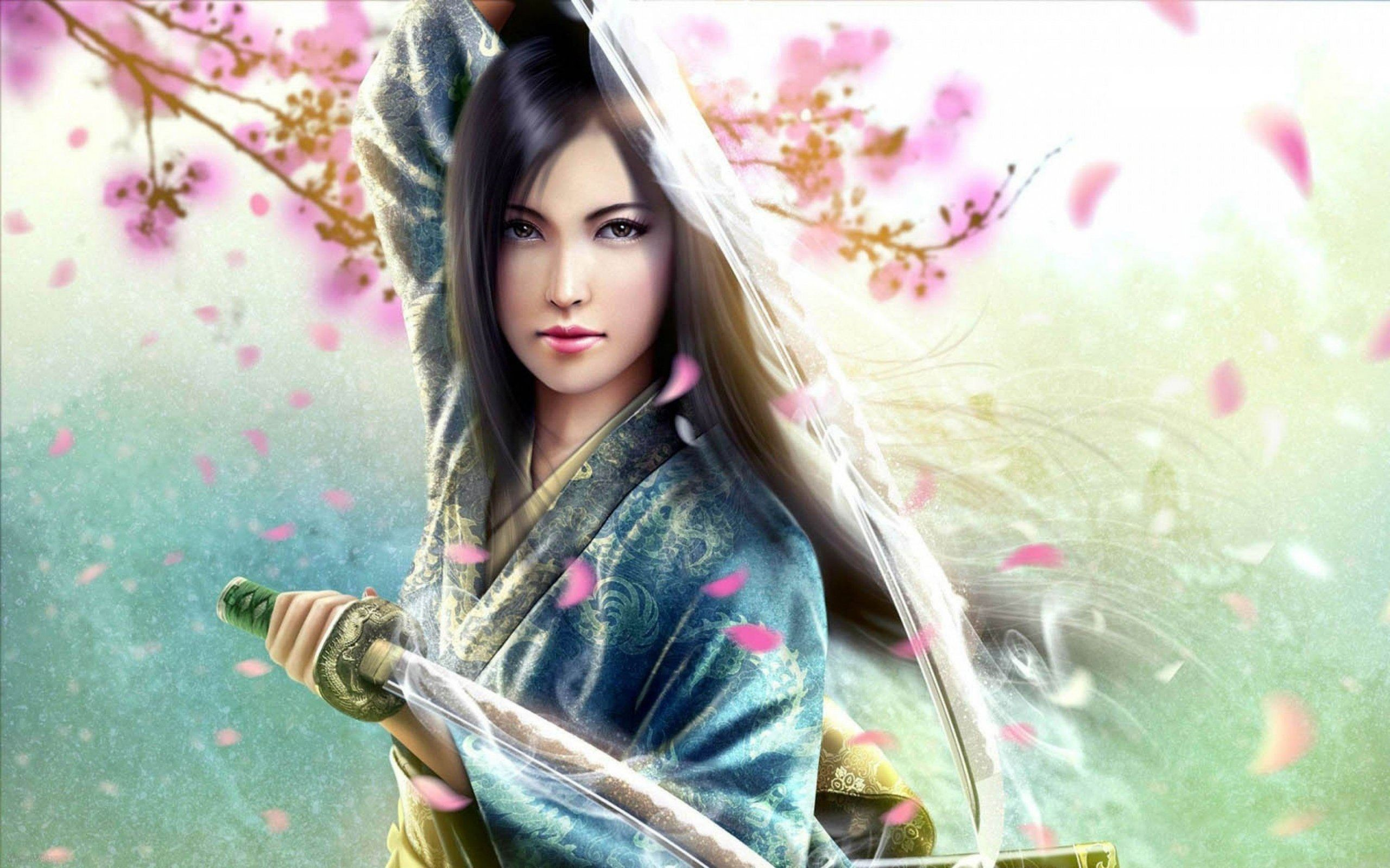 Japanese Samurai Girl iphone Wallpaper