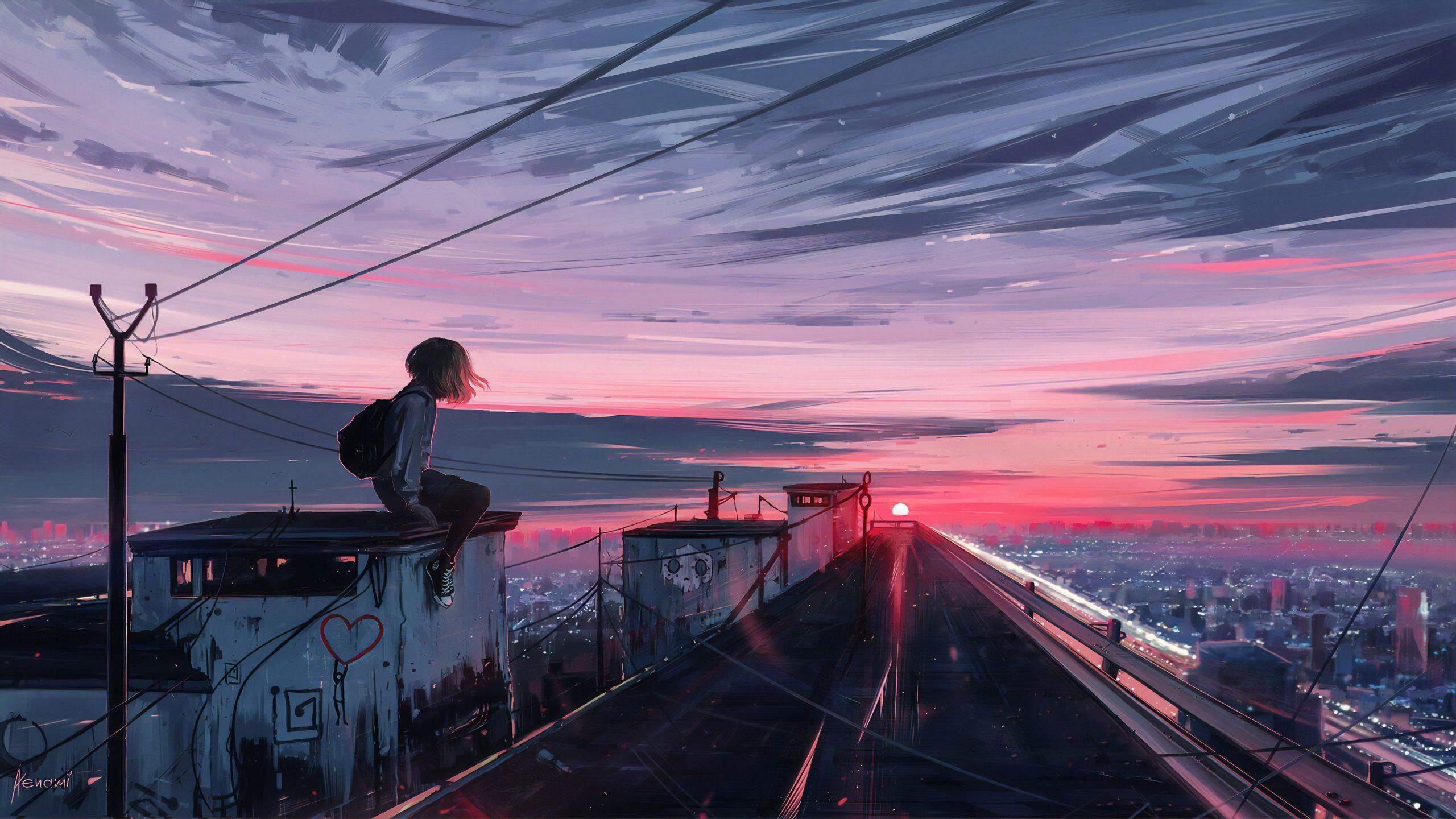 Anime Roofline Girl 4K Wallpaper scaled