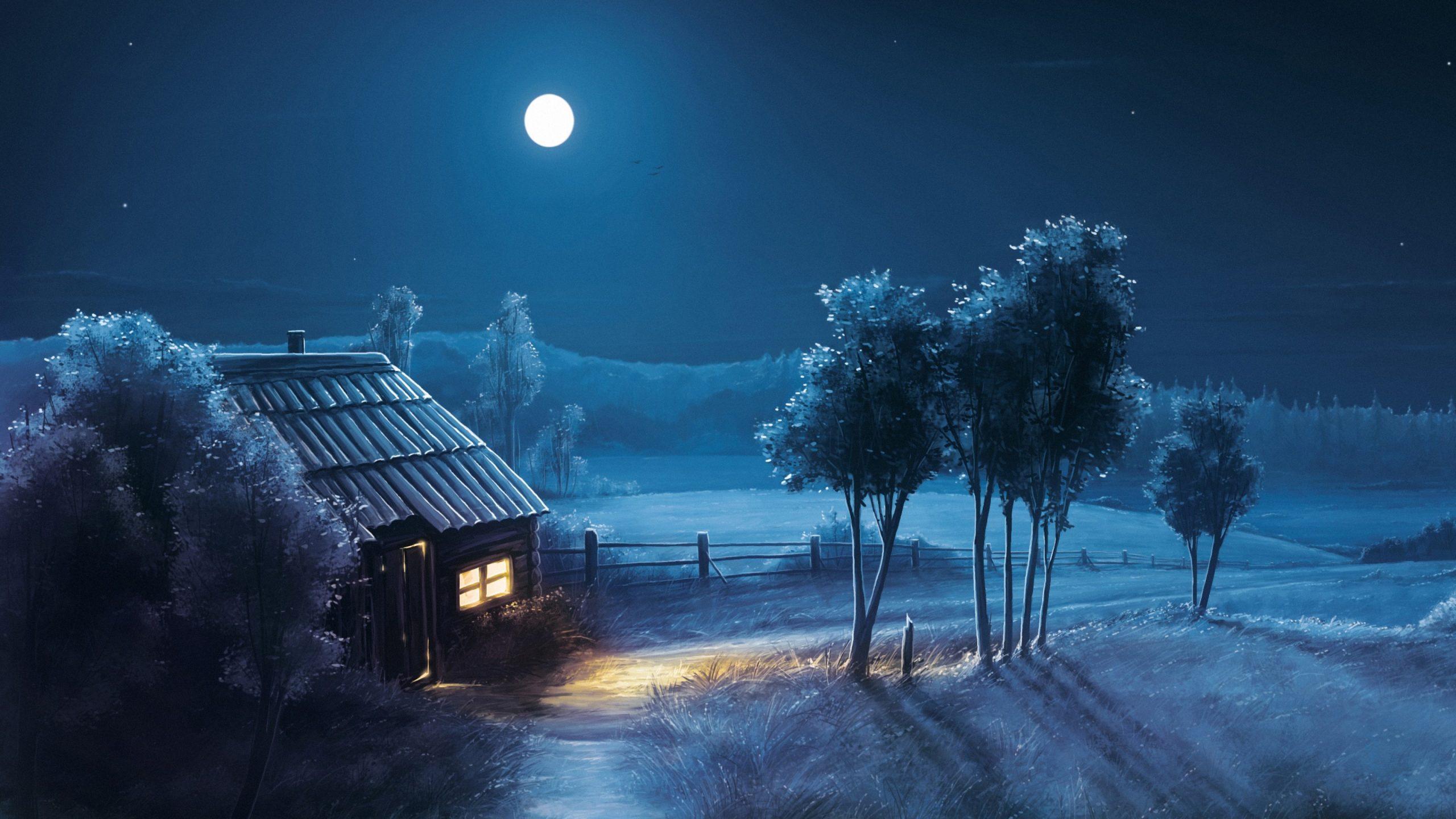 Art Moon Blue Night Trees Hause 4K Wallpaper