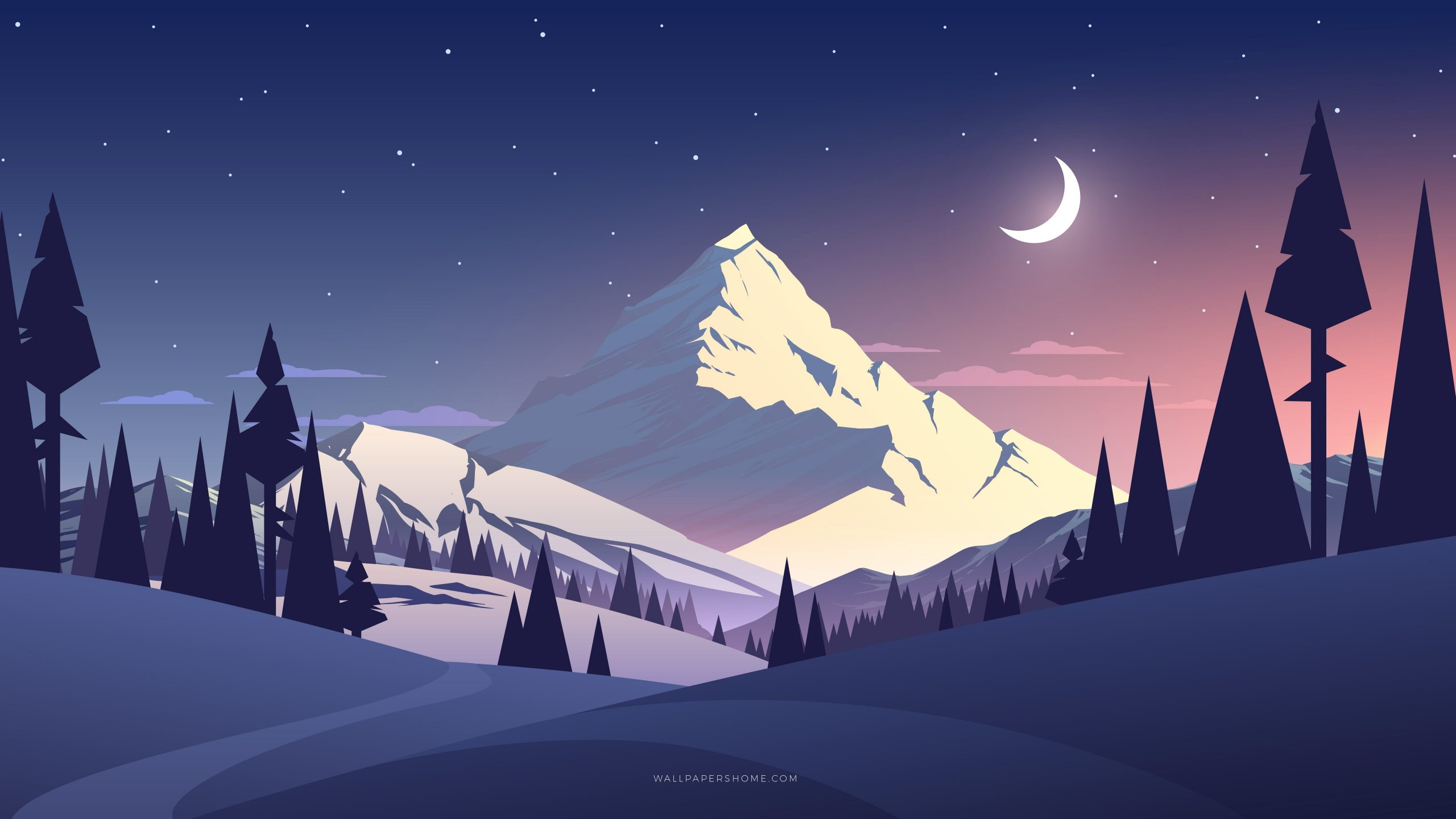 Moon And Mountain Art Wallpaper