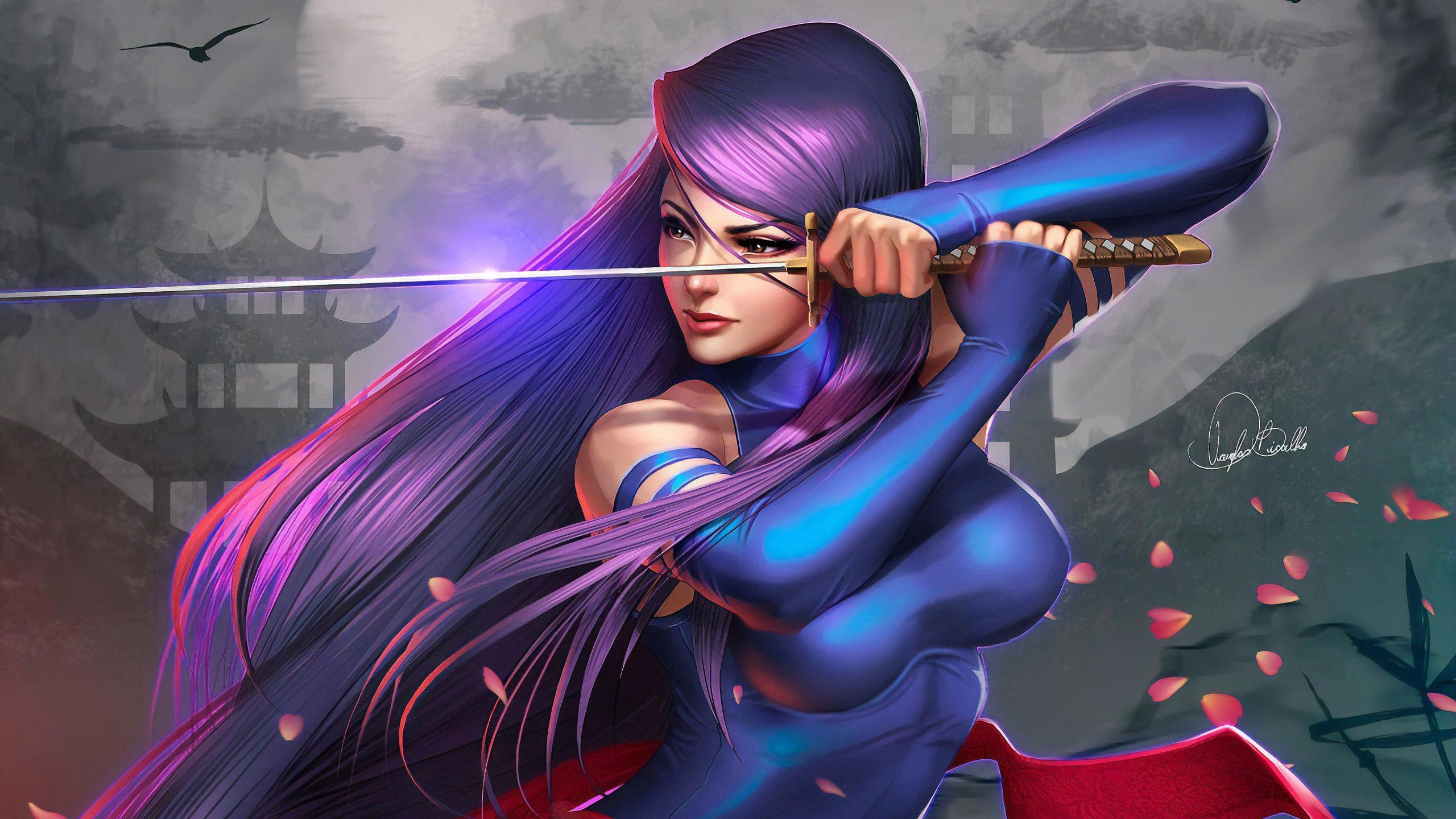 Samurai Girl Art 4K Wallpaper