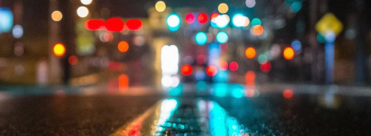 Rainy City Road Bokeh Lights Desktop