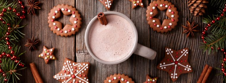 Wallpaper Christmas, New Year, cookies, cocoa, cinnamon, 5k, Food